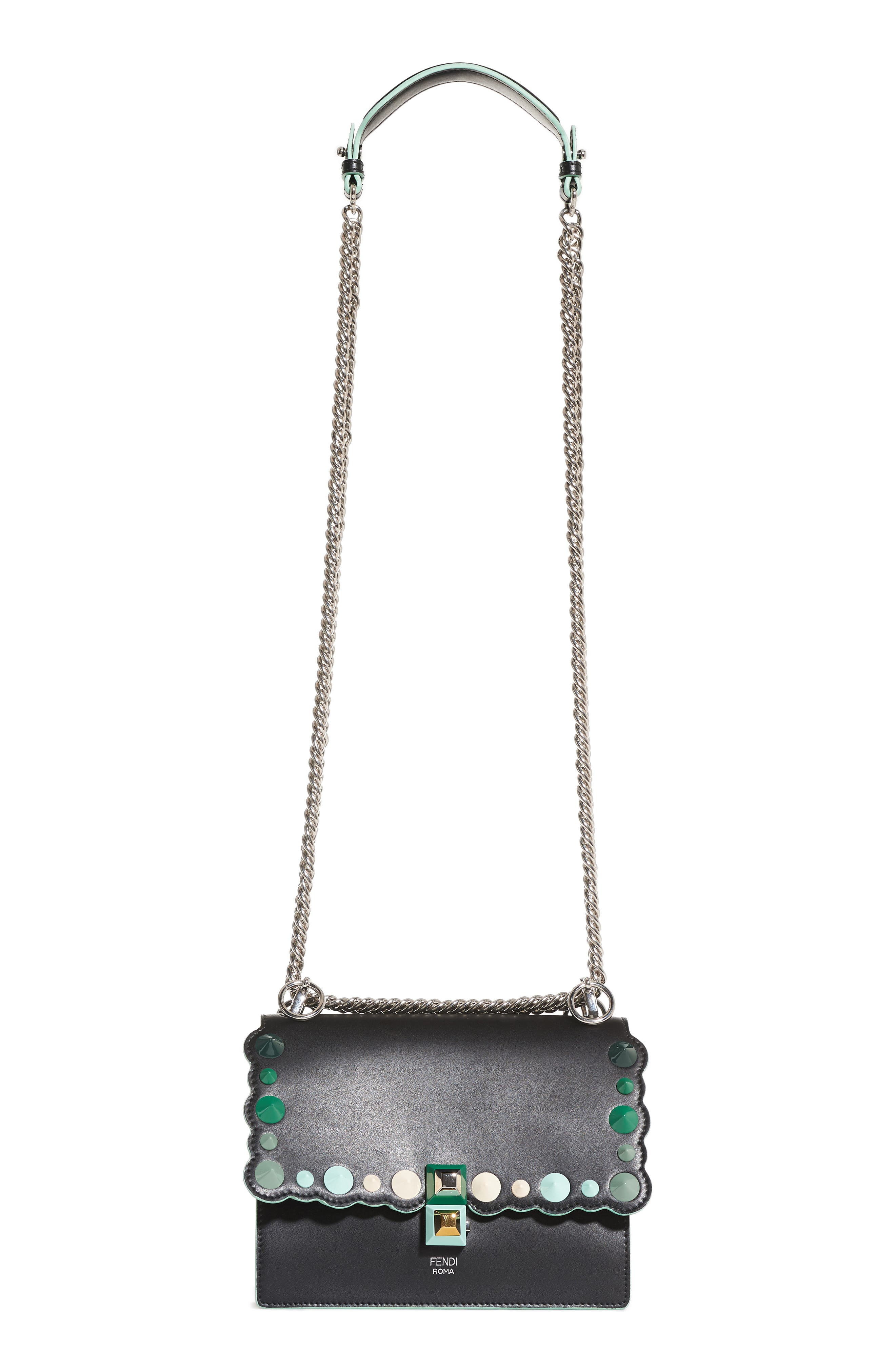 FENDI Mini Kan I Dégradé Stud Calfskin Shoulder Bag