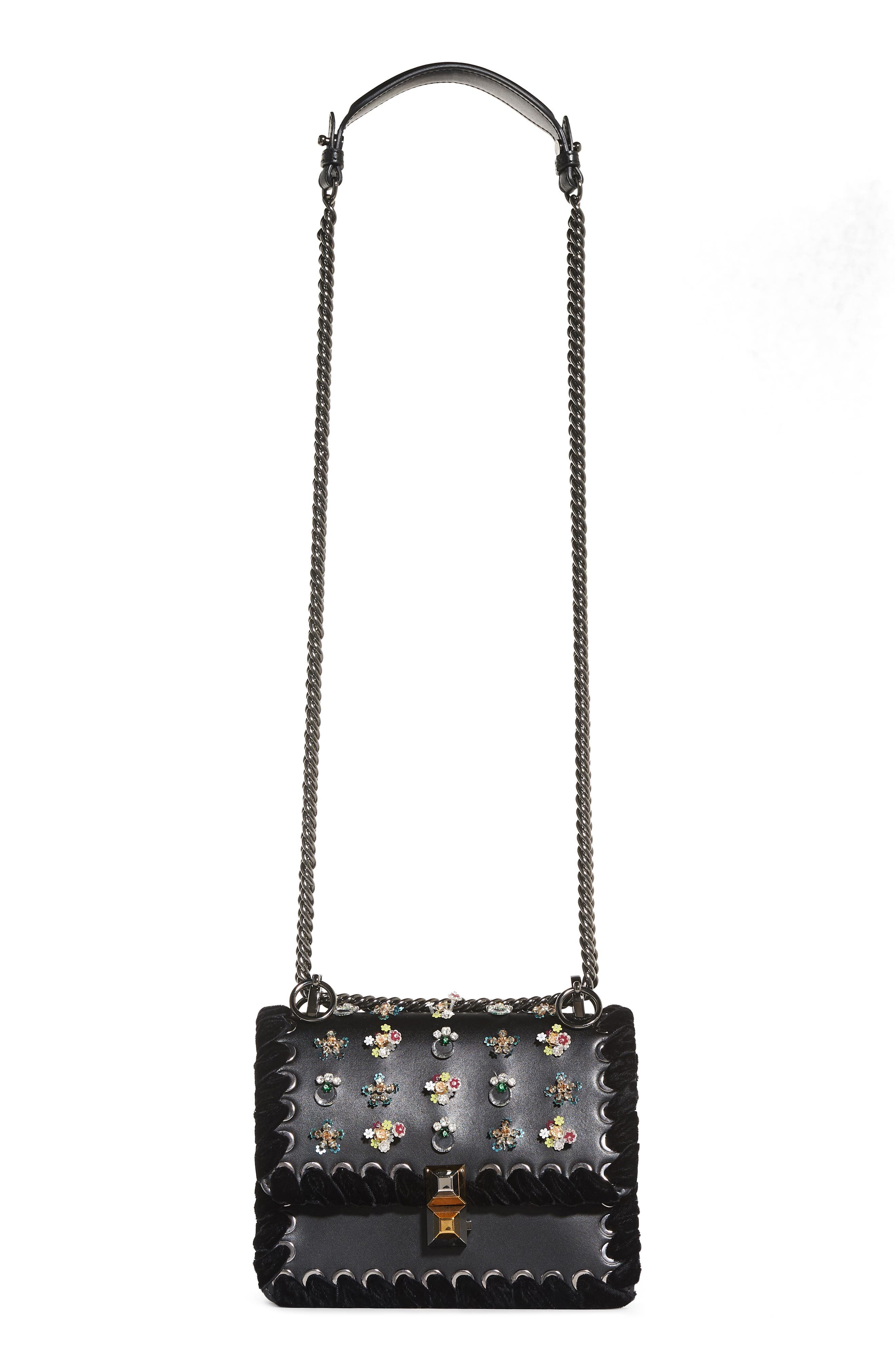 Fendi Mini Kan Beaded Flowers Calfskin Leather Shoulder Bag
