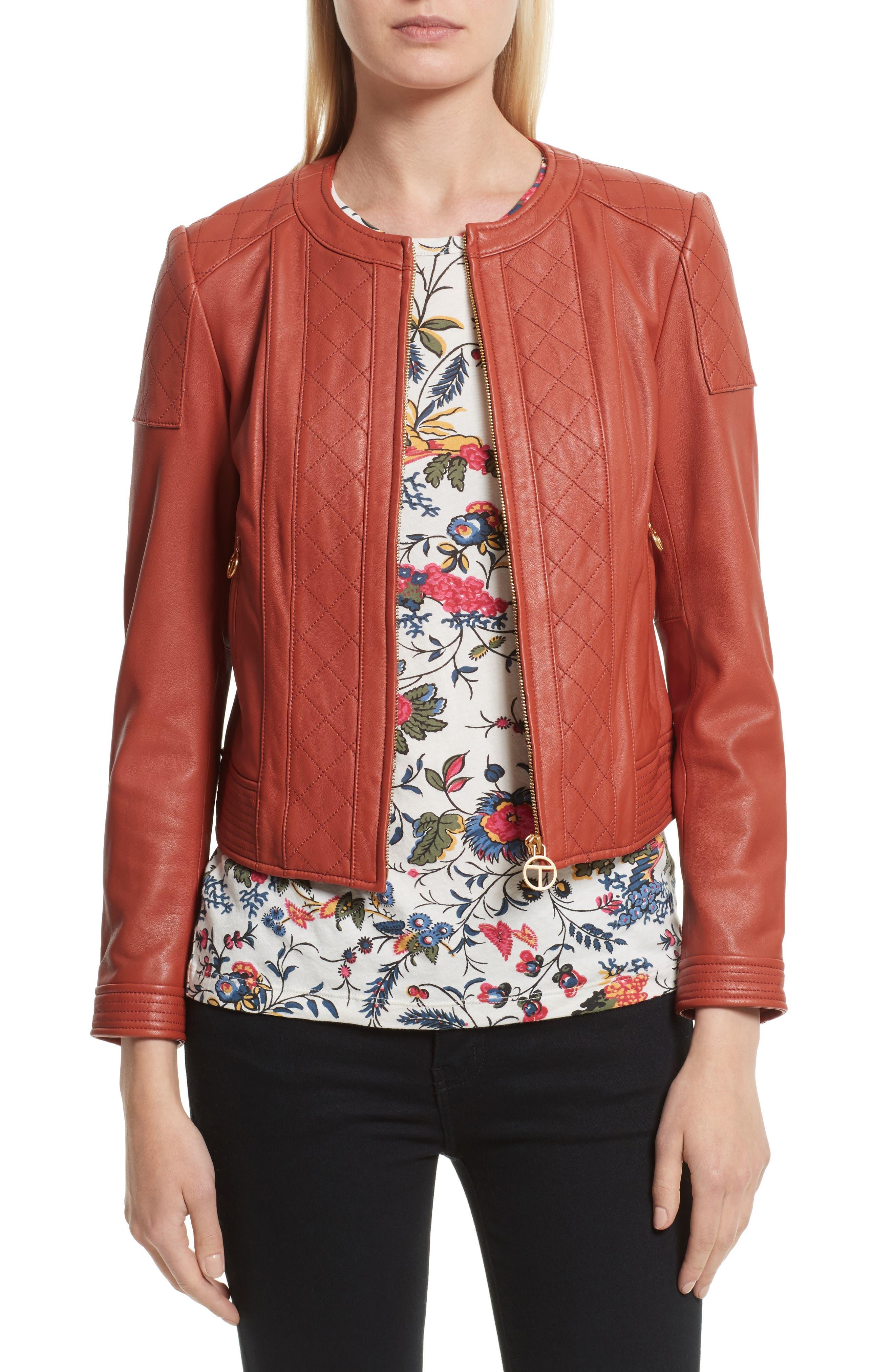 Ryder Leather Jacket,                         Main,                         color, Sienna