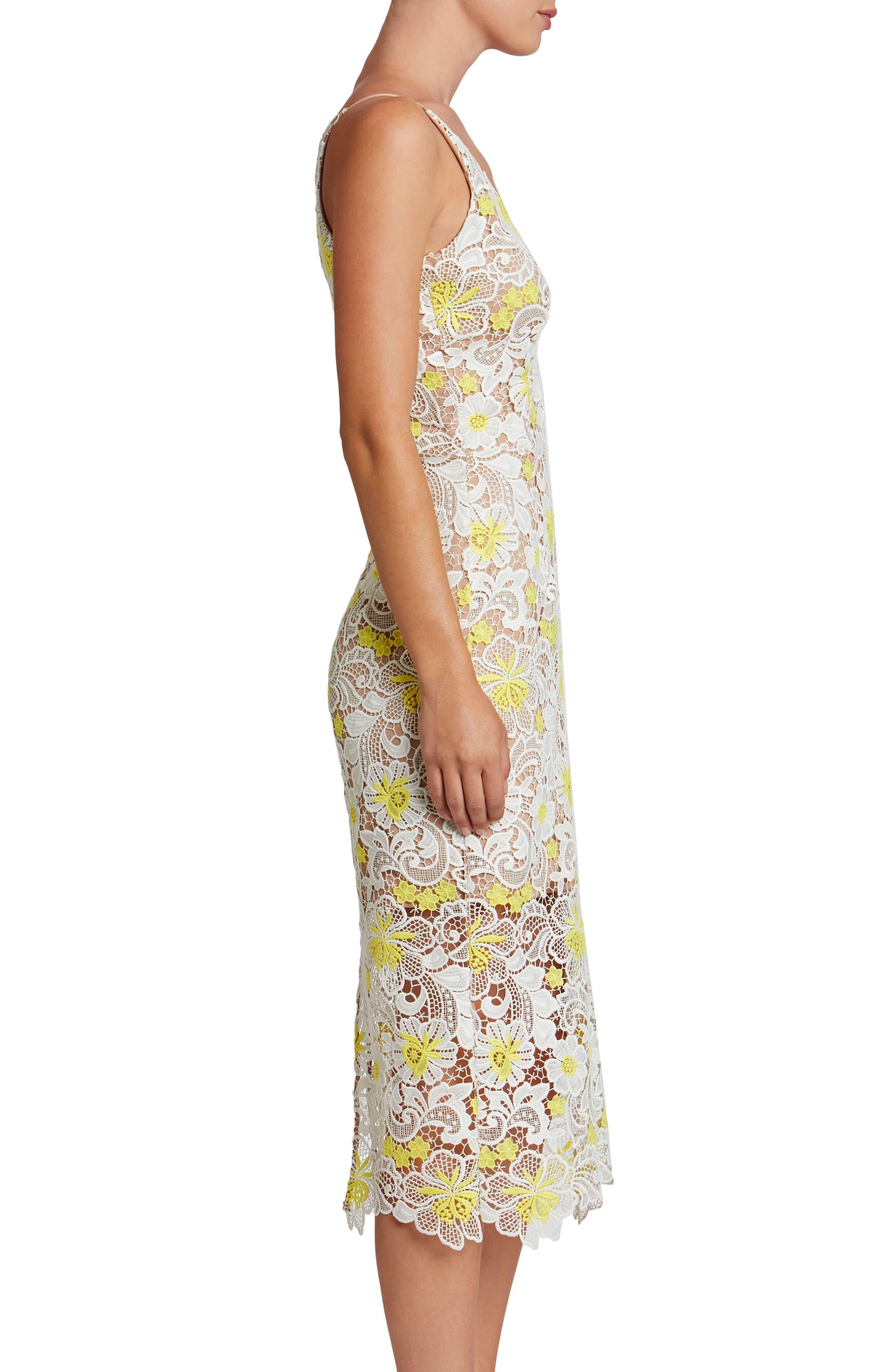 Aurora Floral Midi Dress,                             Alternate thumbnail 3, color,                             White/ Yellow Floral