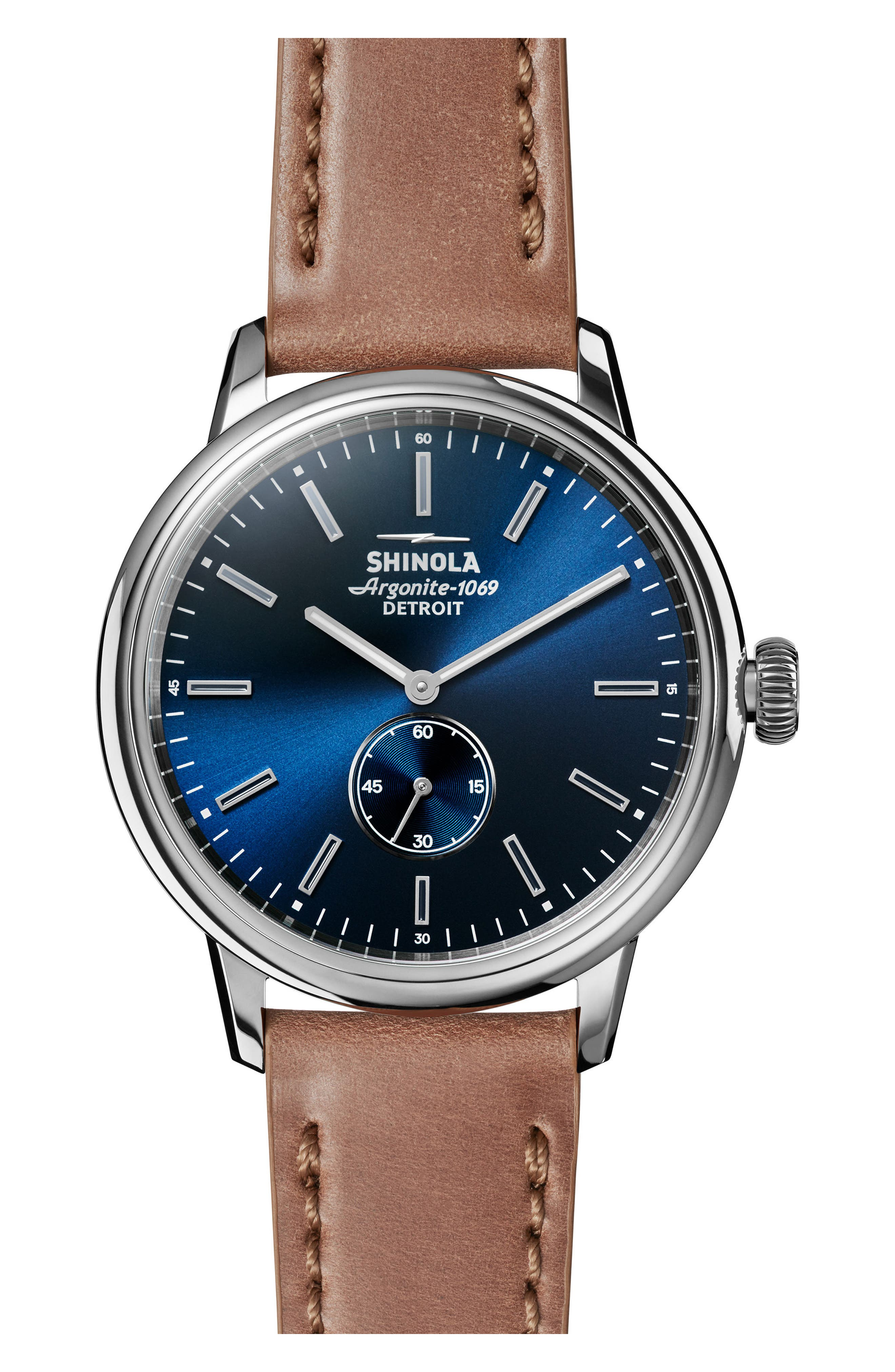Bedrock Leather Strap Watch, 42mm,                         Main,                         color, Natural/ Midnight Blue
