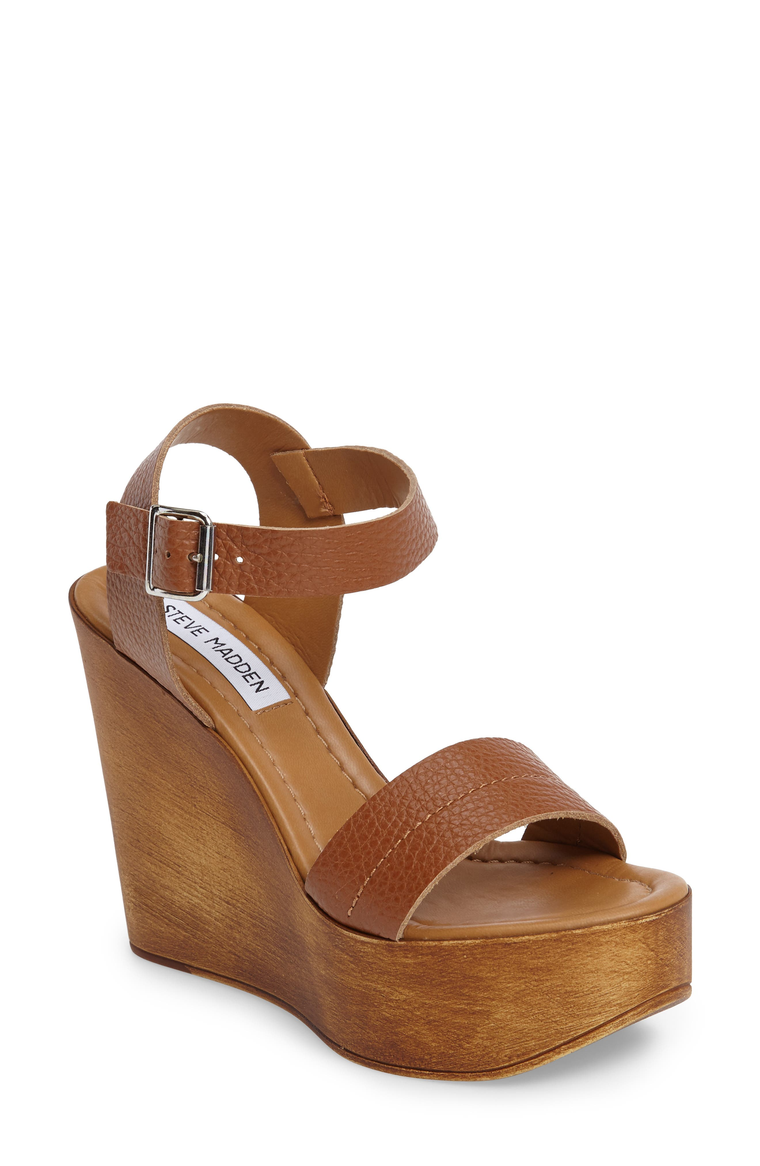 Belma Wedge Sandal,                         Main,                         color, Tan Leather