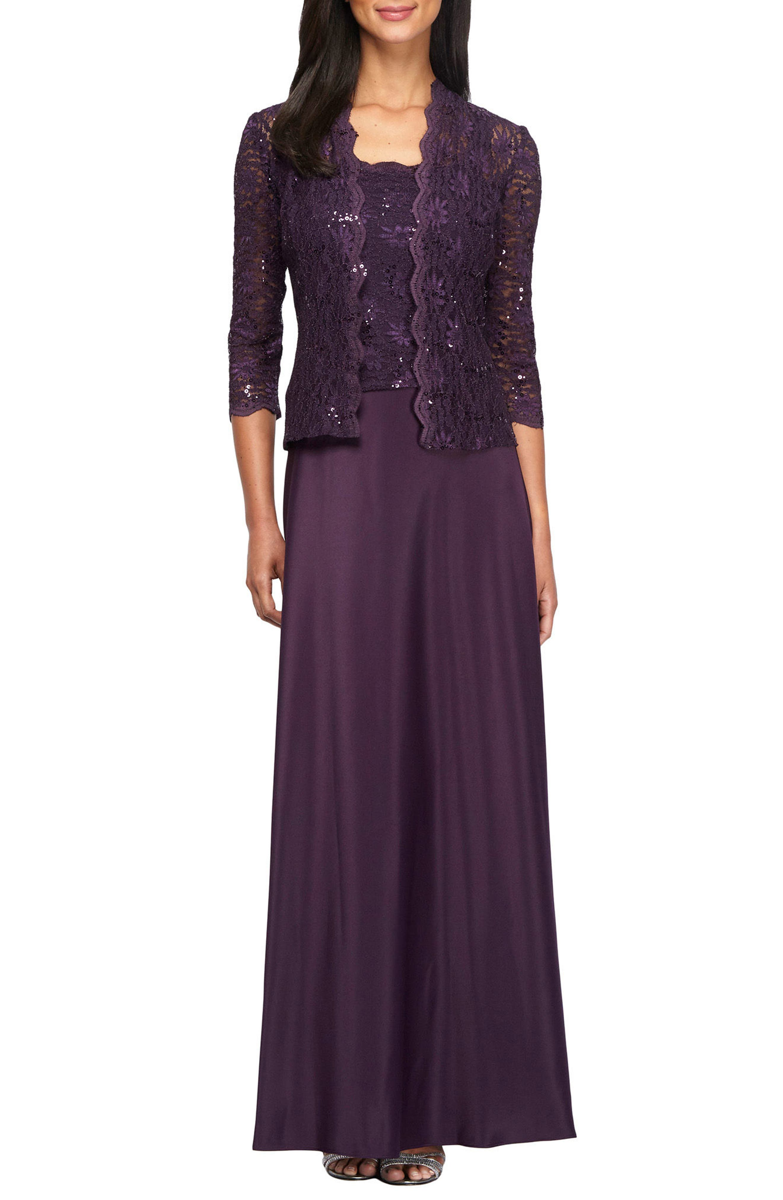 Sequin Lace & Satin Gown with Jacket,                         Main,                         color, Eggplant