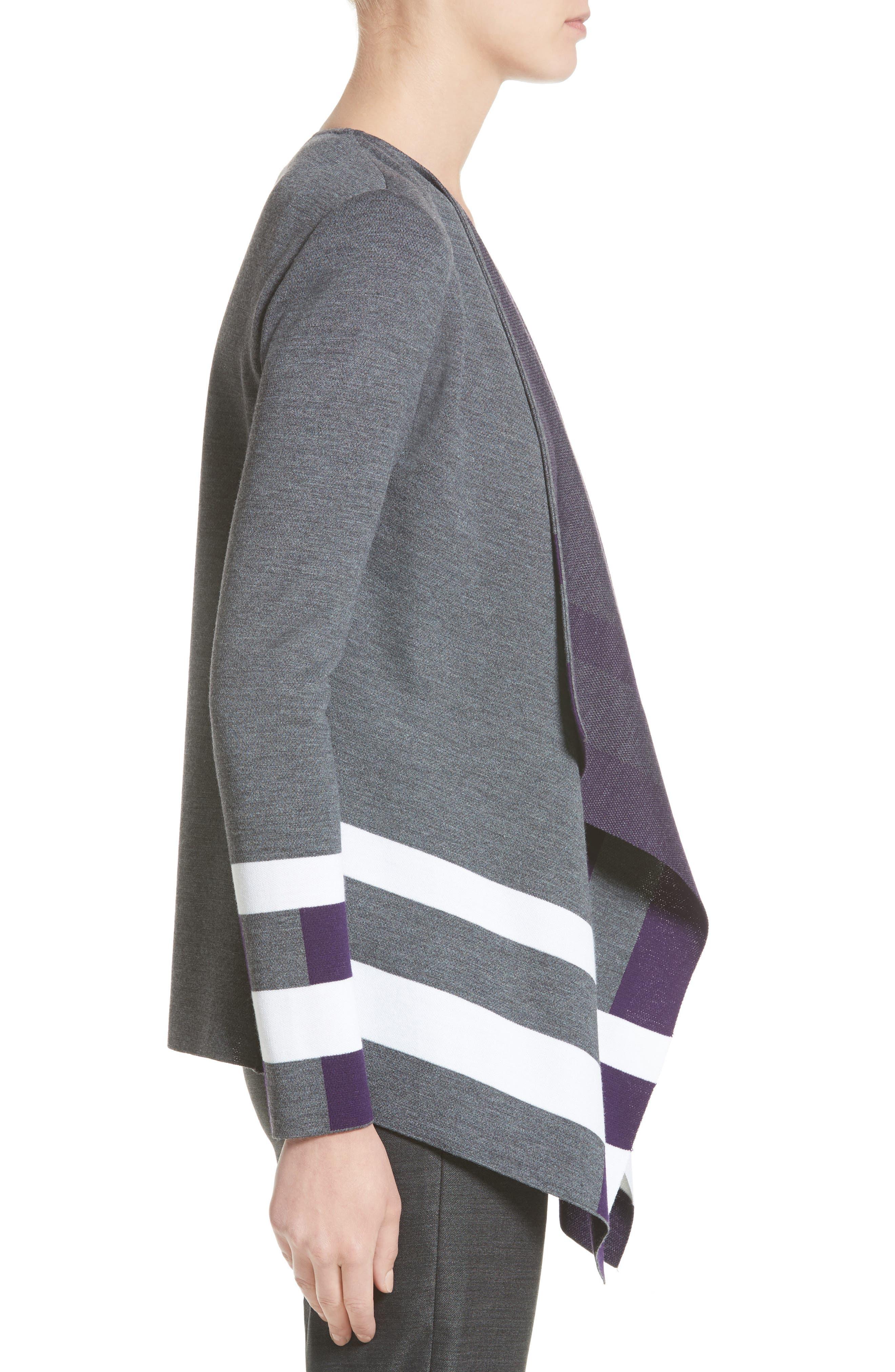 Milano Knit Jacquard Drape Front Jacket,                             Alternate thumbnail 3, color,                             Flint Multi