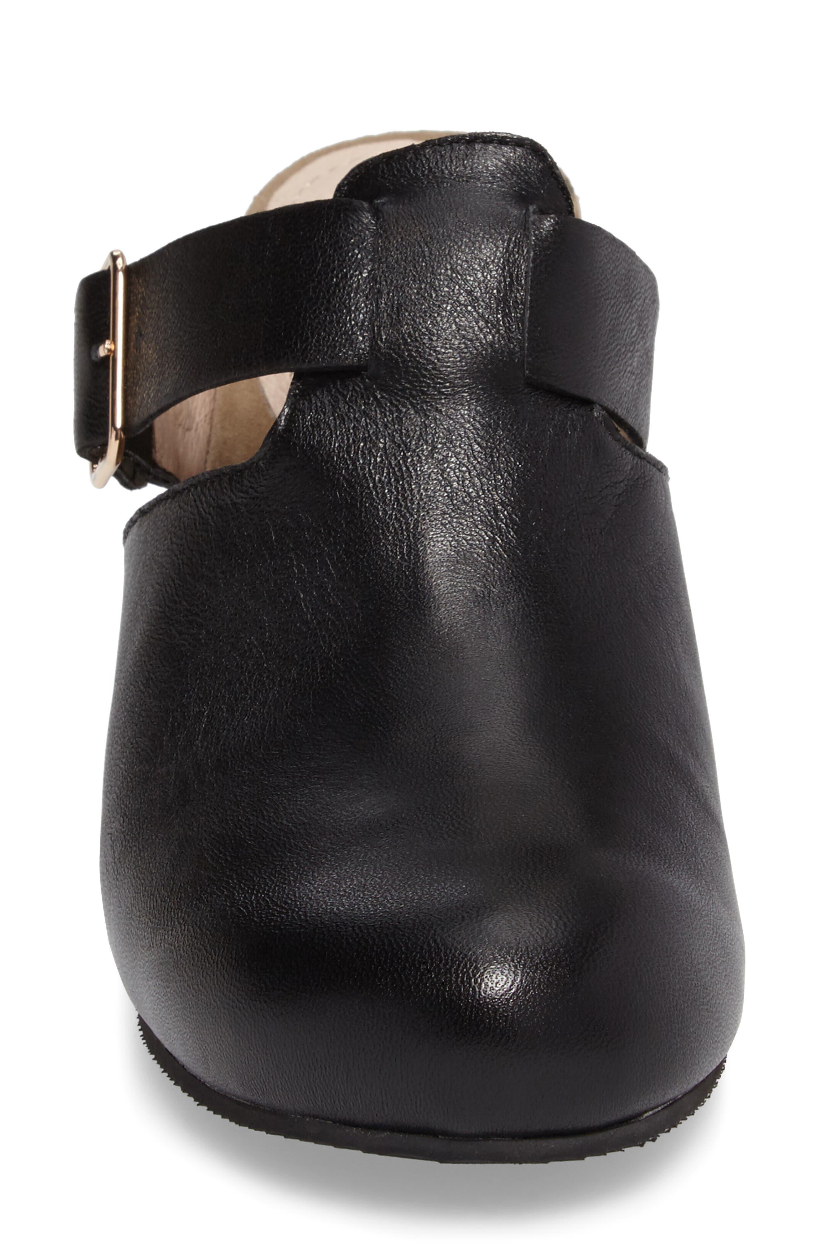 Cindy Block Heel Mule,                             Alternate thumbnail 4, color,                             Black Leather