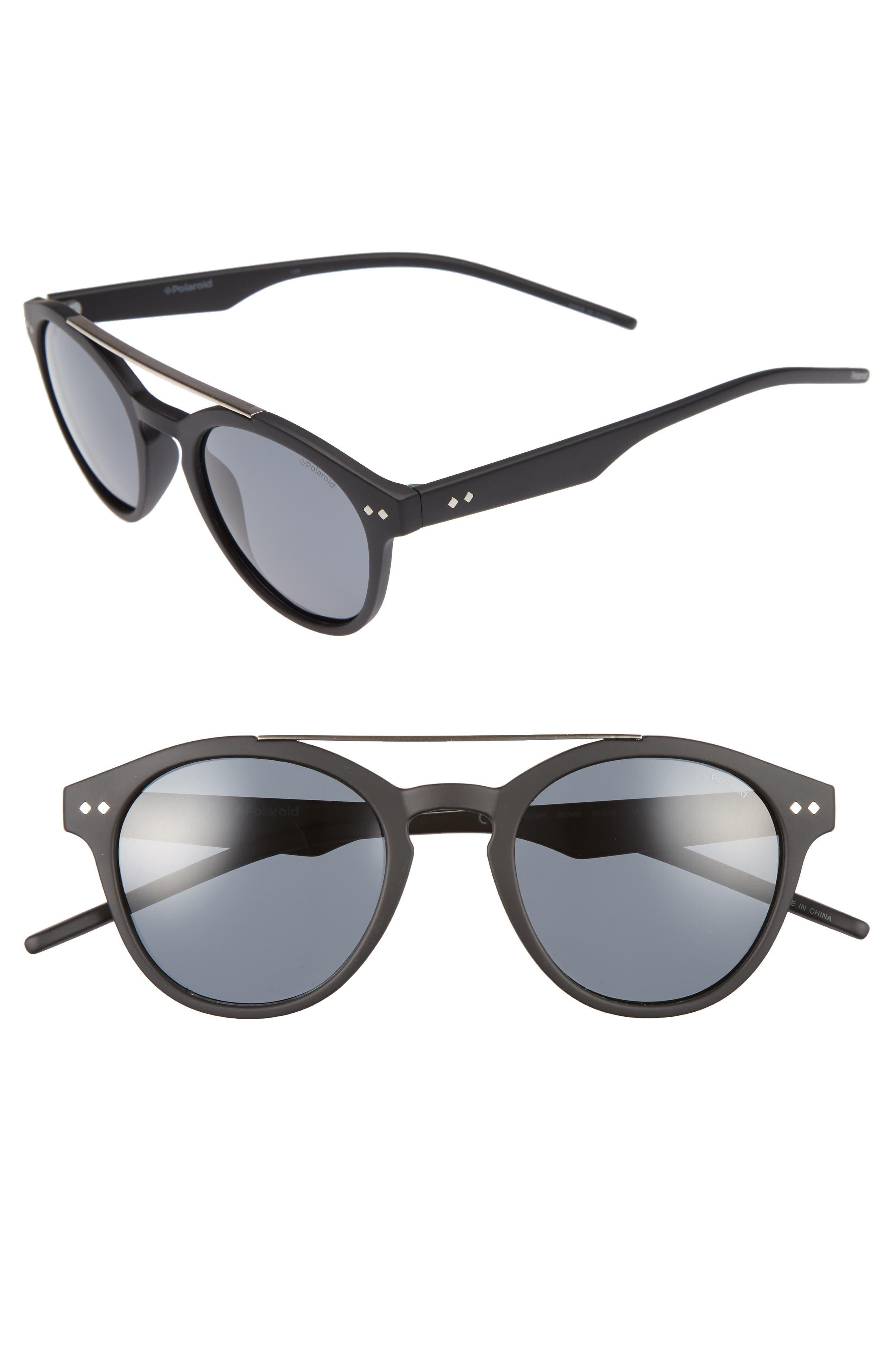 50mm Polarized Retro Sunglasses,                         Main,                         color, Matte Black