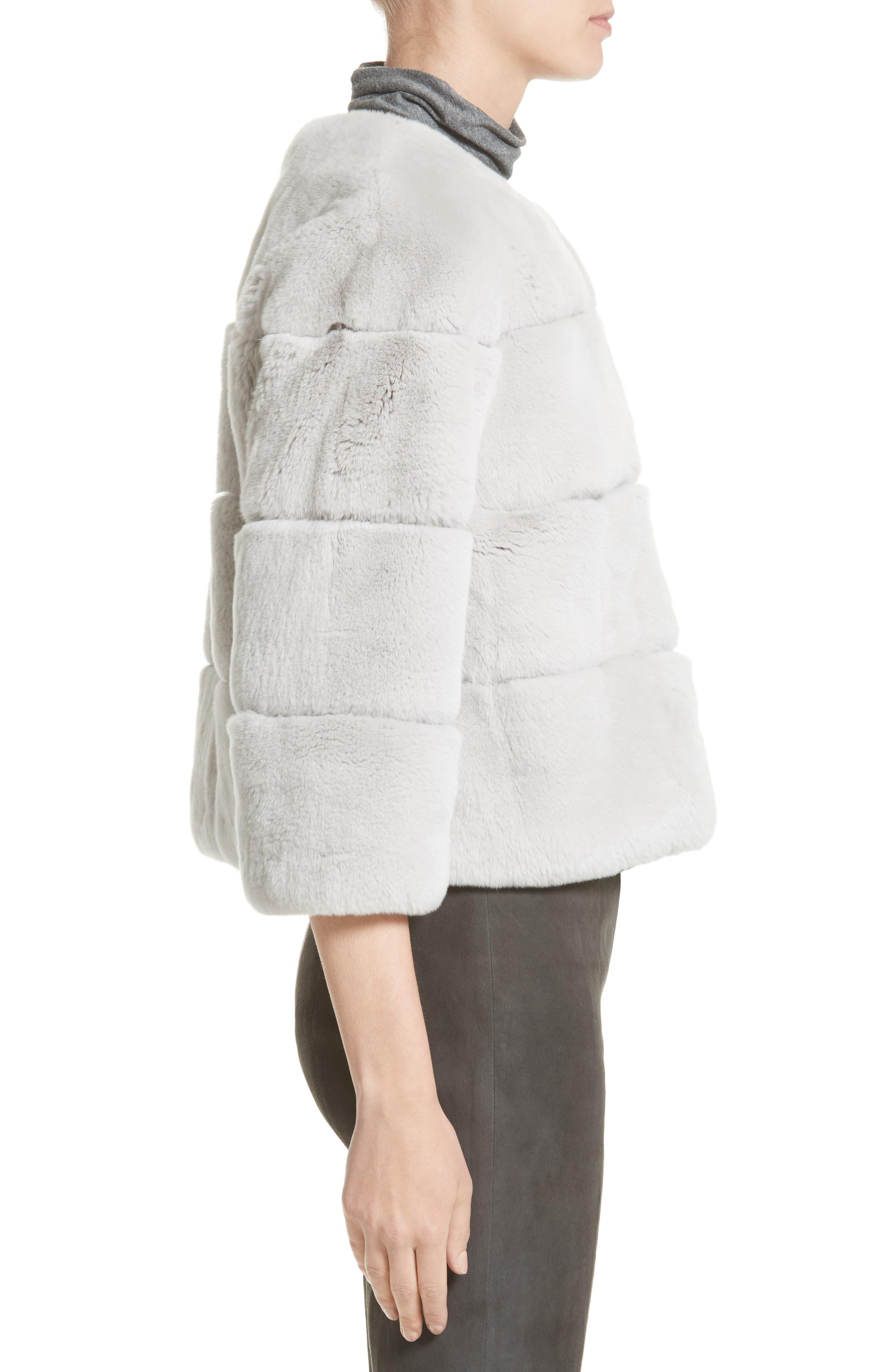 Genuine Rex Rabbit Fur Jacket,                             Alternate thumbnail 3, color,                             Light Grey
