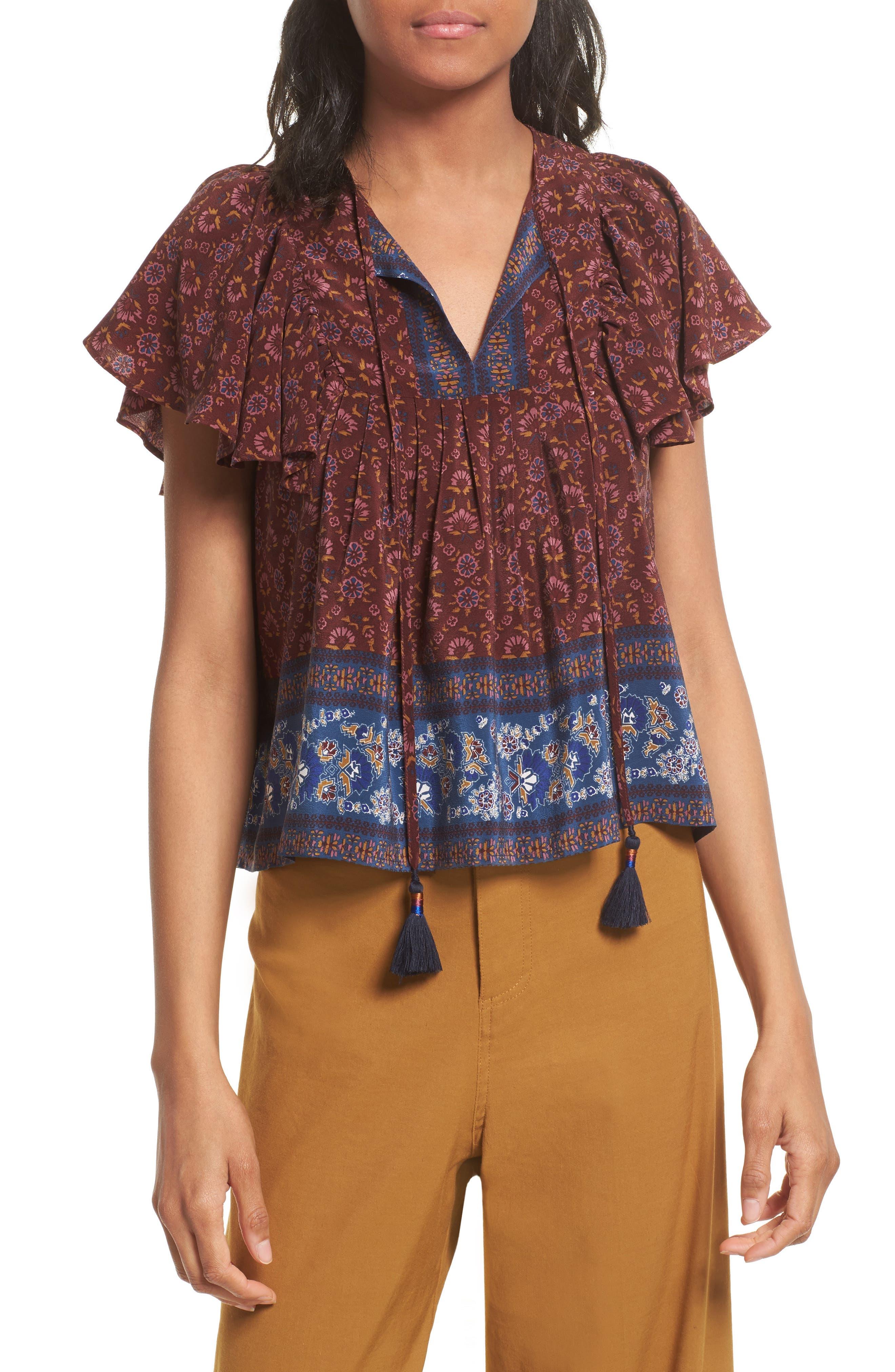 Sea Ruffle Sleeve Silk Top