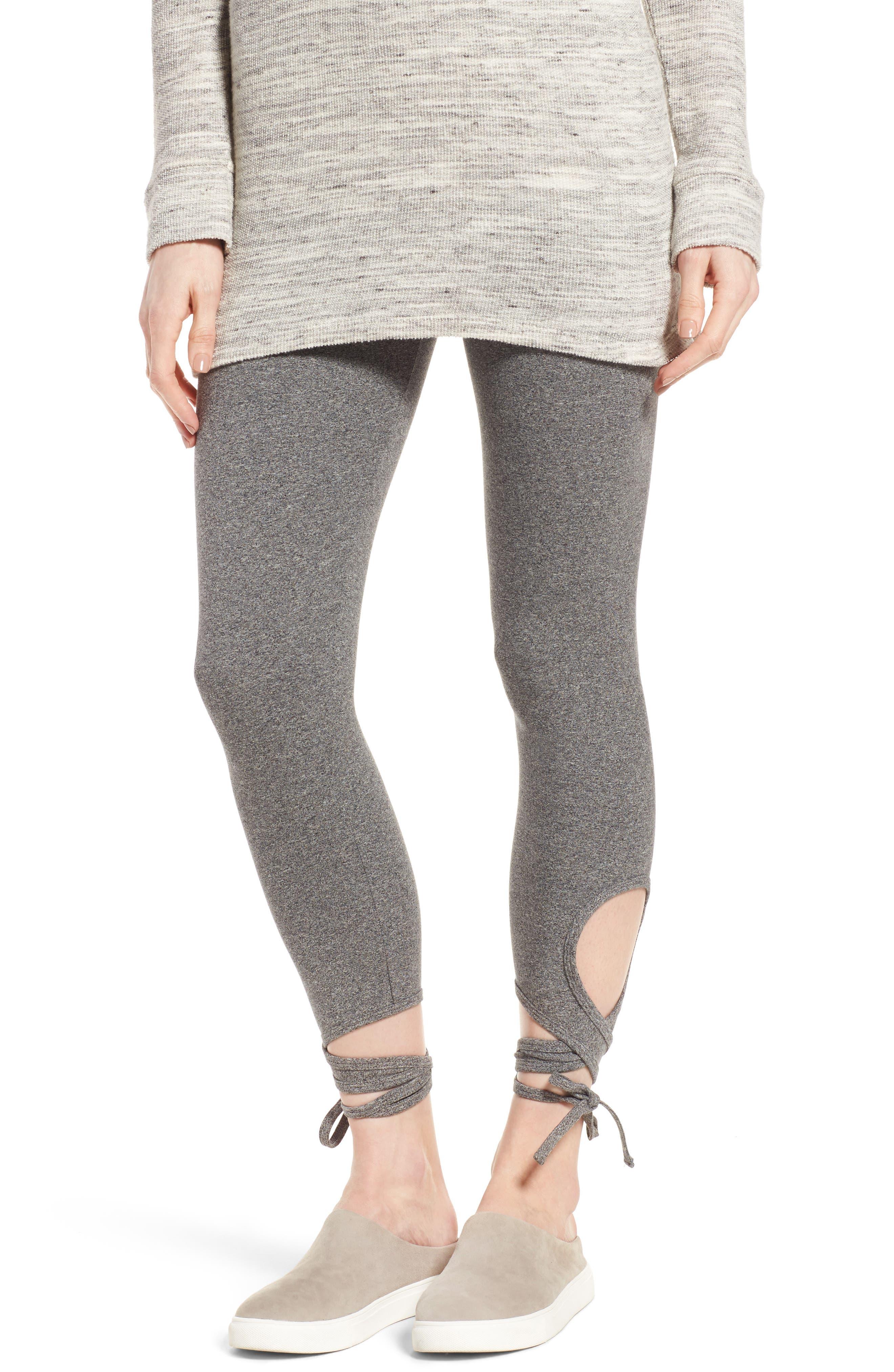 High Rise Wrap Ankle Leggings,                         Main,                         color, Salt And Pepper