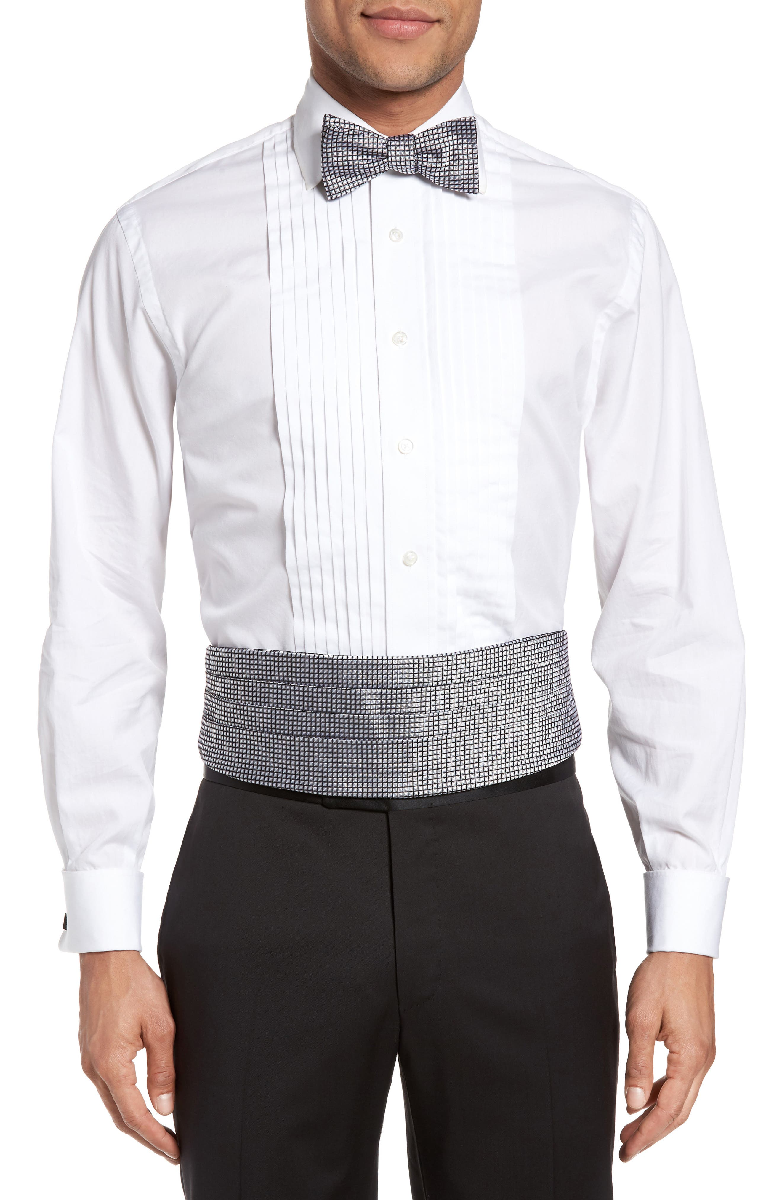 'Protocol' Silk Cummerbund & Bow Tie Set,                         Main,                         color, Black