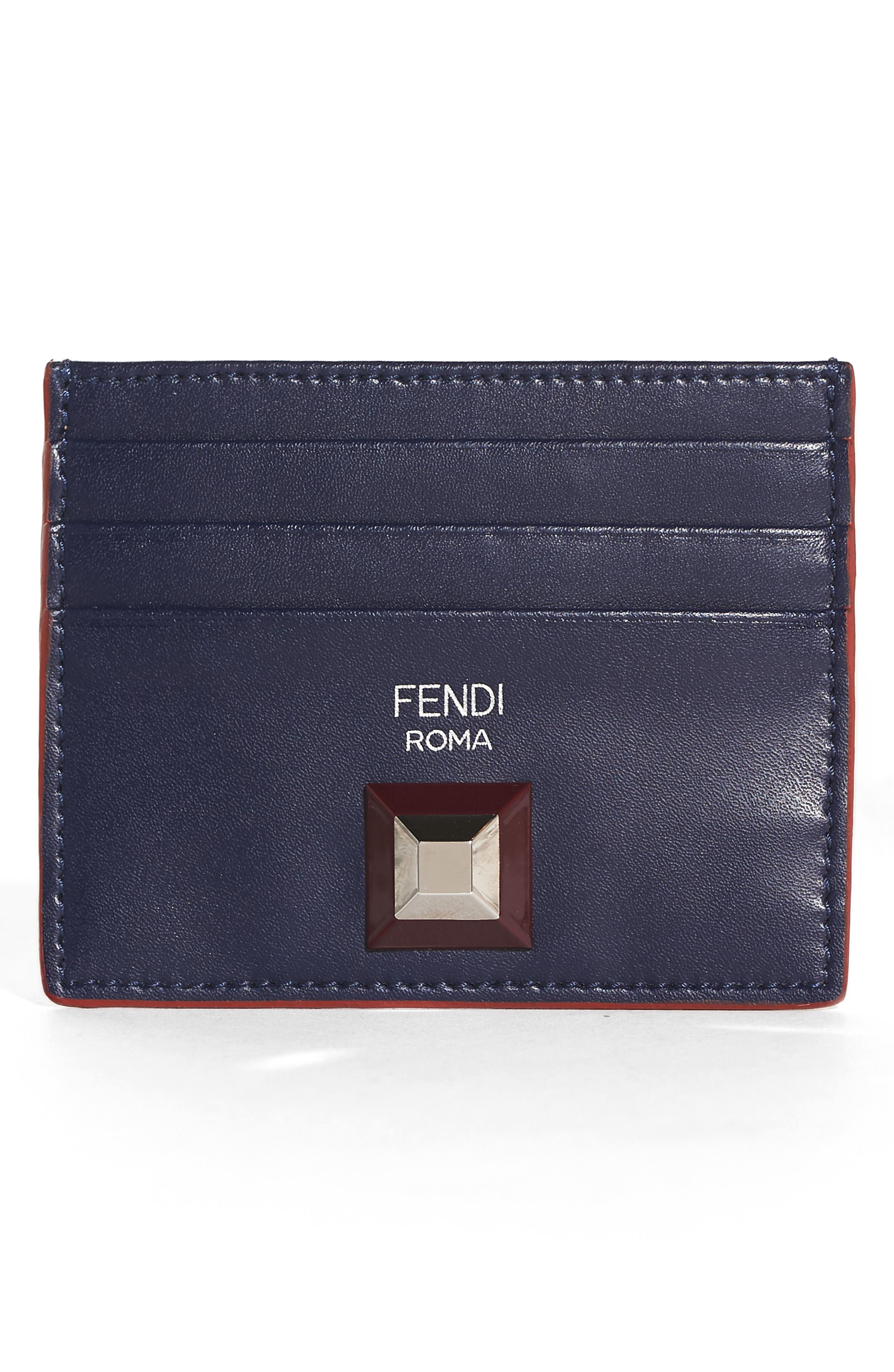 Fendi Rainbow Stud Leather Card Case