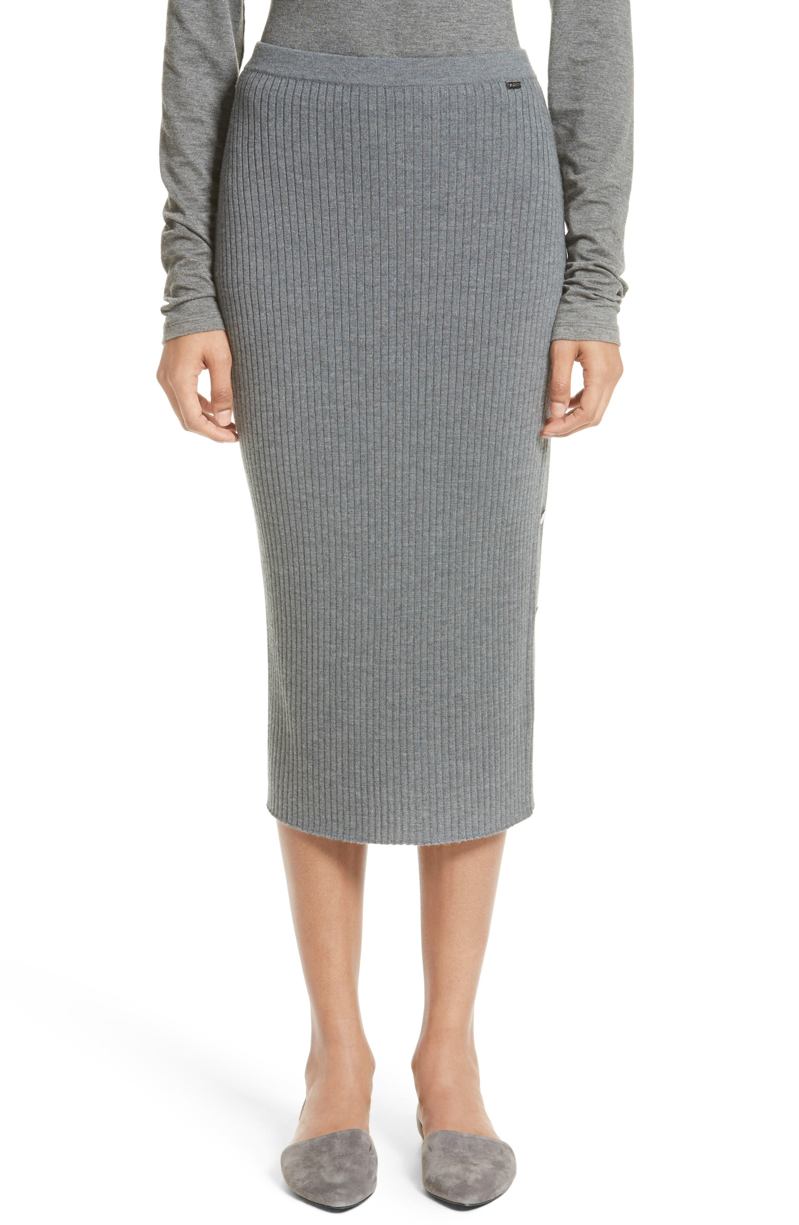 St. John Collection Side Placket Rib Knit Skirt