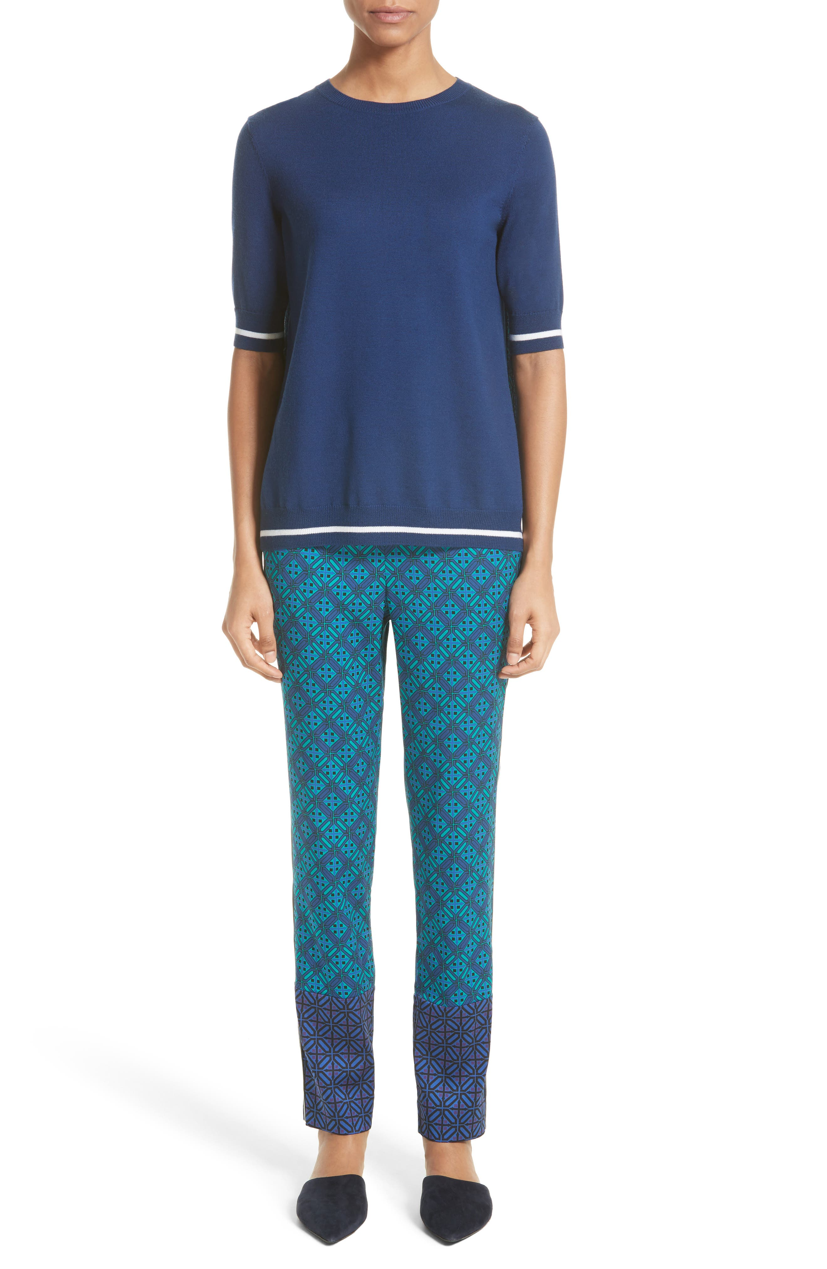 Sarita Tile Print Jersey Knit Sweater,                             Alternate thumbnail 8, color,                             Azurite Multi