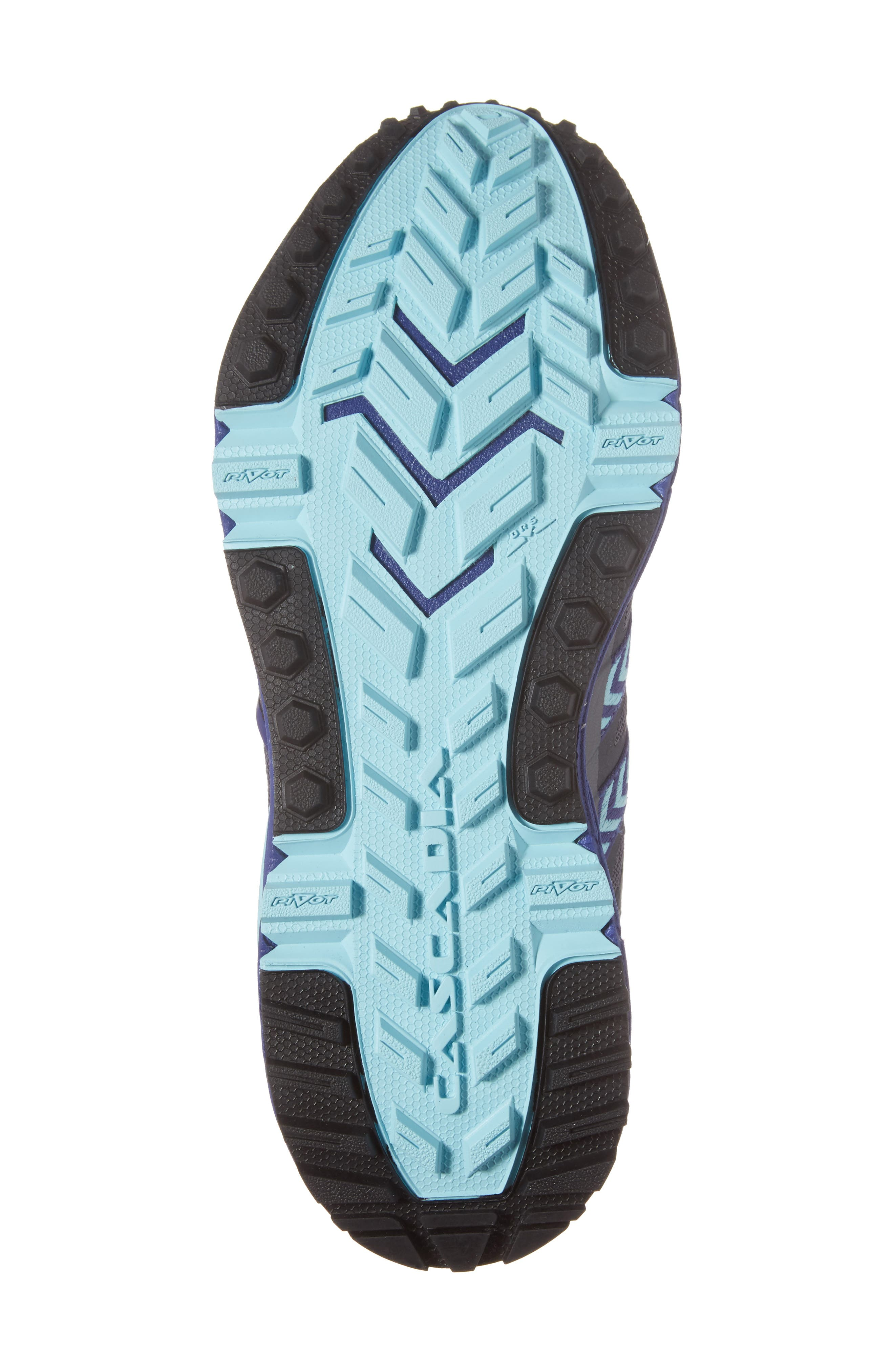 Cascadia 12 GTX Trail Running Shoe,                             Alternate thumbnail 6, color,                             Black/ Ebony/ Clematis Blue