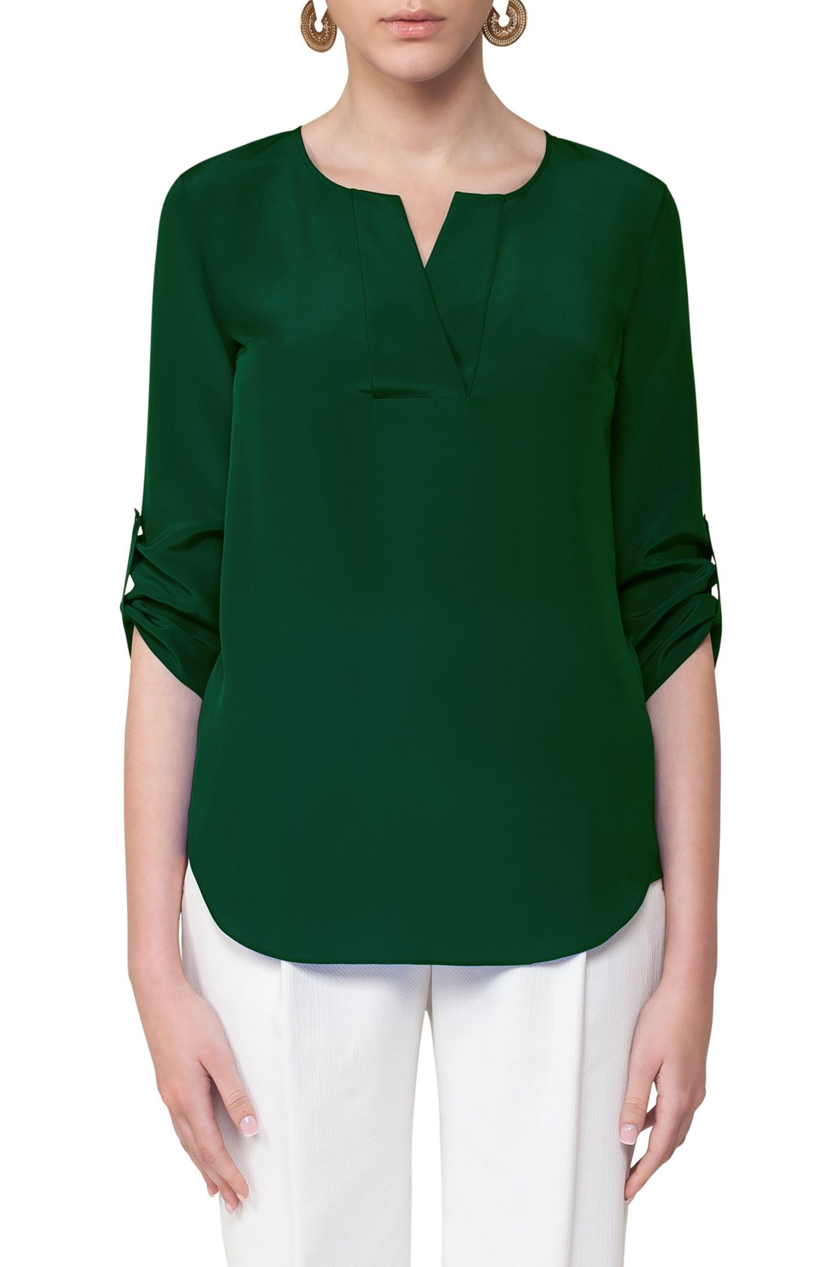 Silk Blouse,                         Main,                         color, Emerald