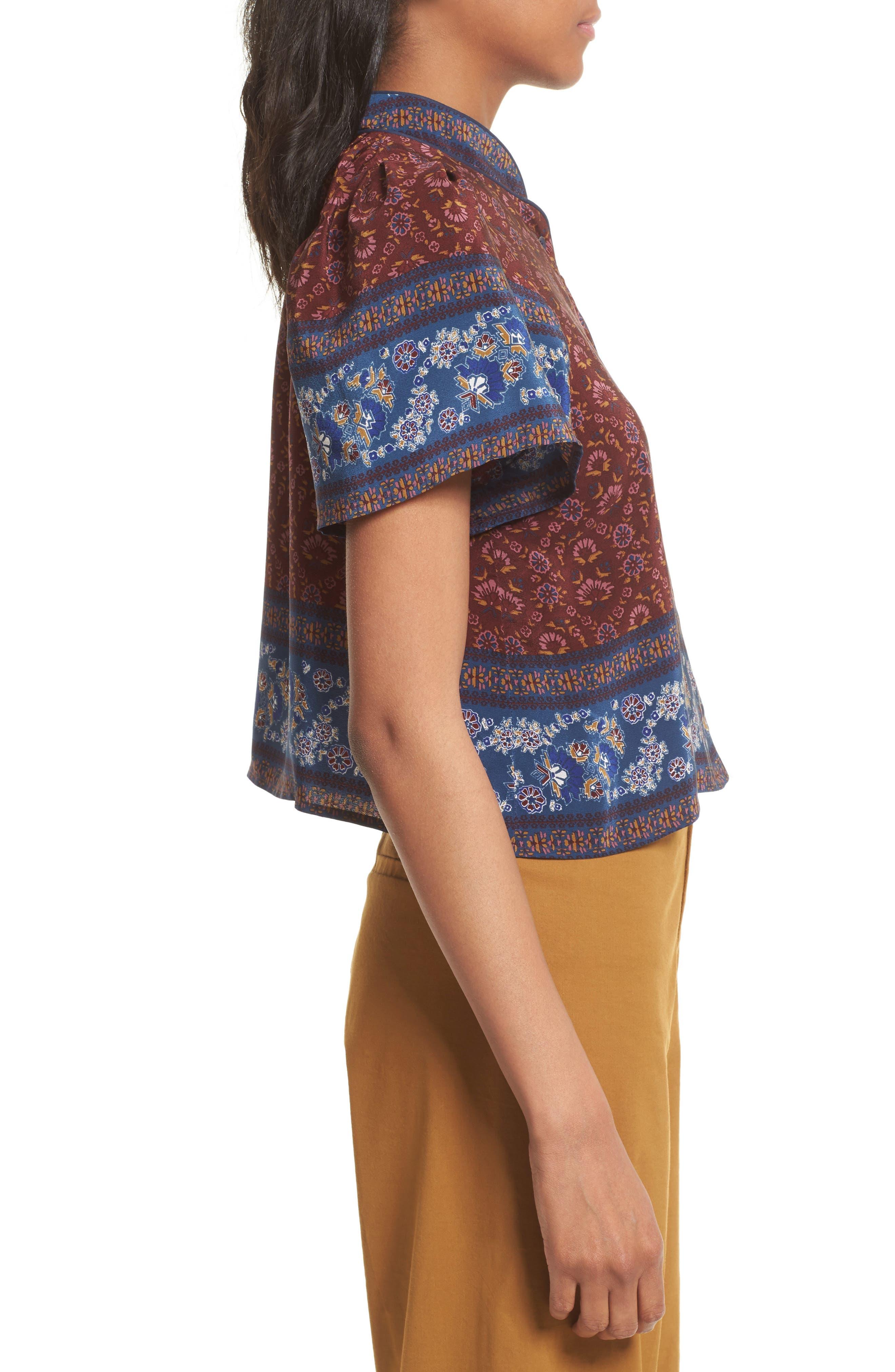 Alternate Image 3  - Sea Mandarin Collar Silk Top
