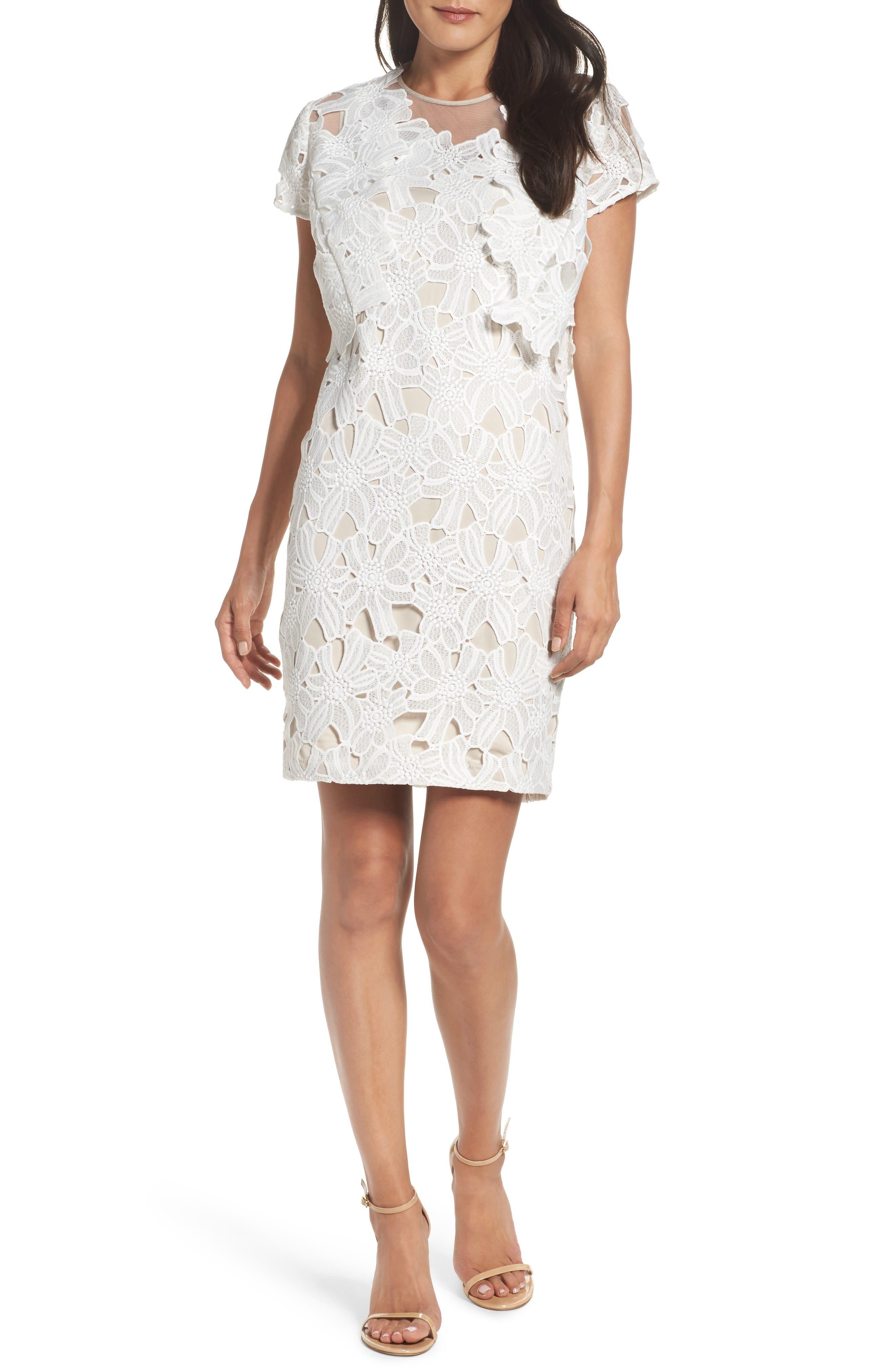 Cecila Lace Sheath Dress & Jacket Set,                             Main thumbnail 1, color,                             White/ Chamois
