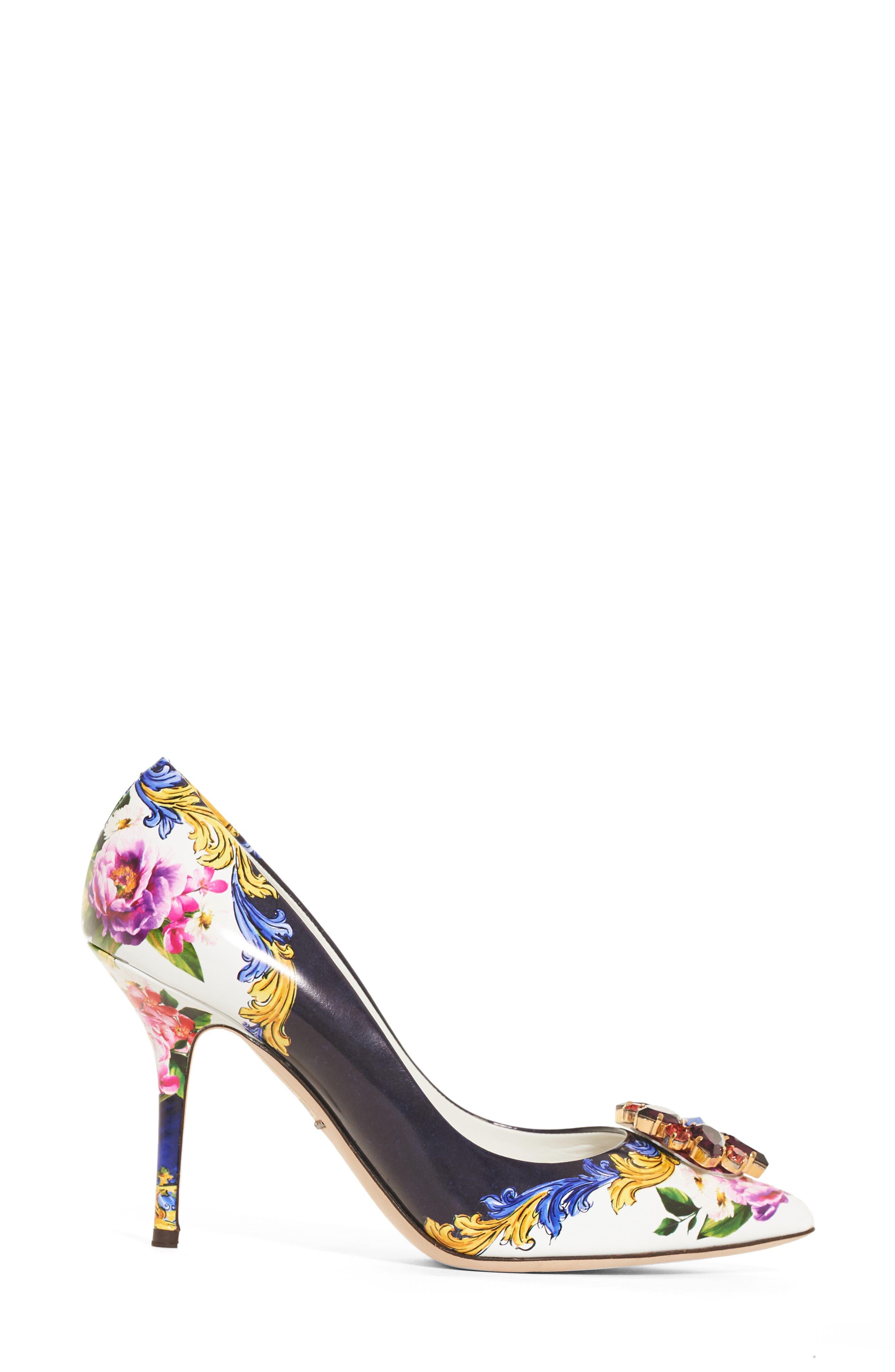 Dolce & Gabbana Print Pump,                             Alternate thumbnail 4, color,                             Navy/ White Floral