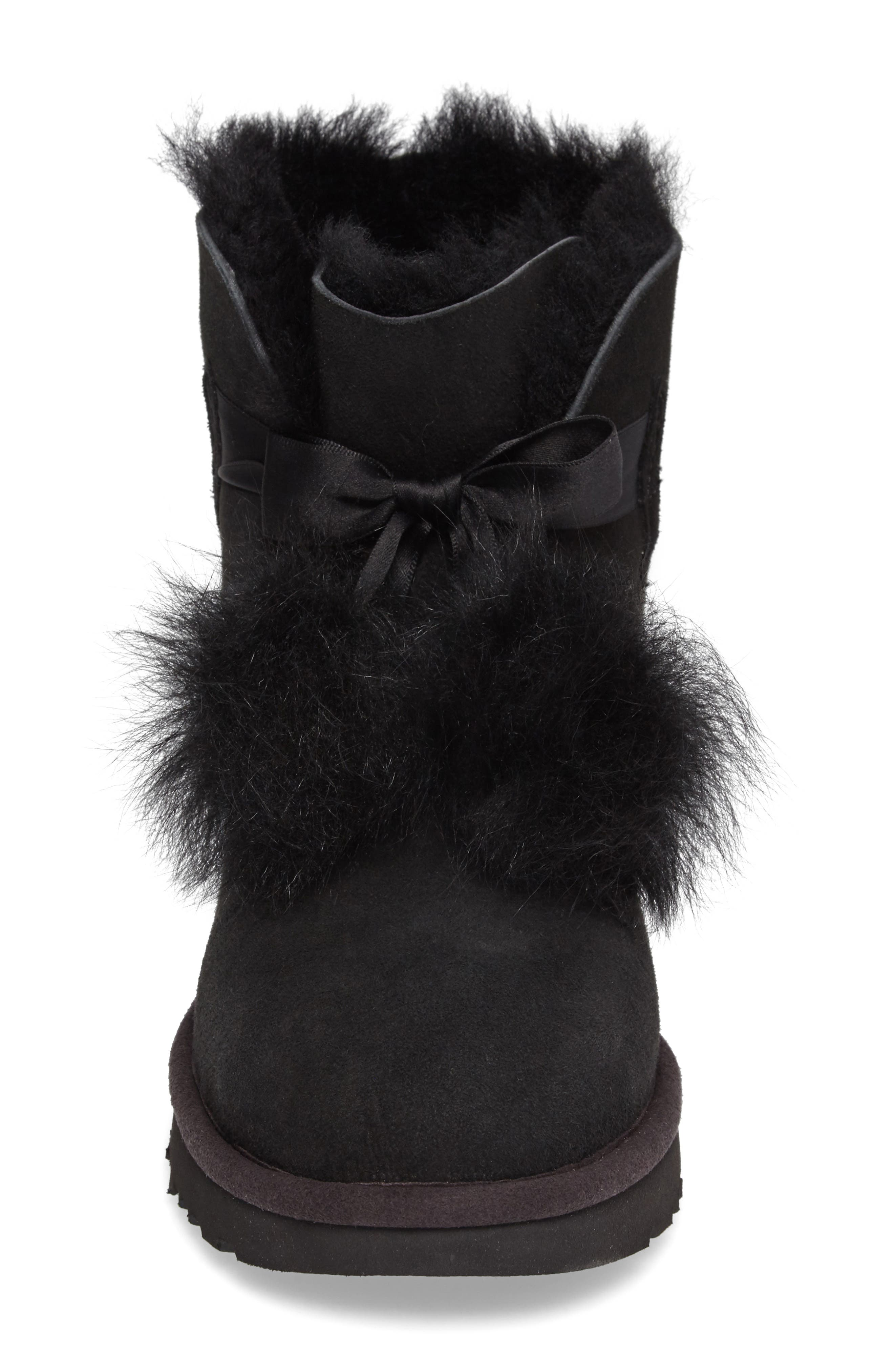 Gita Genuine Shearling Boot,                             Alternate thumbnail 4, color,                             Black Suede