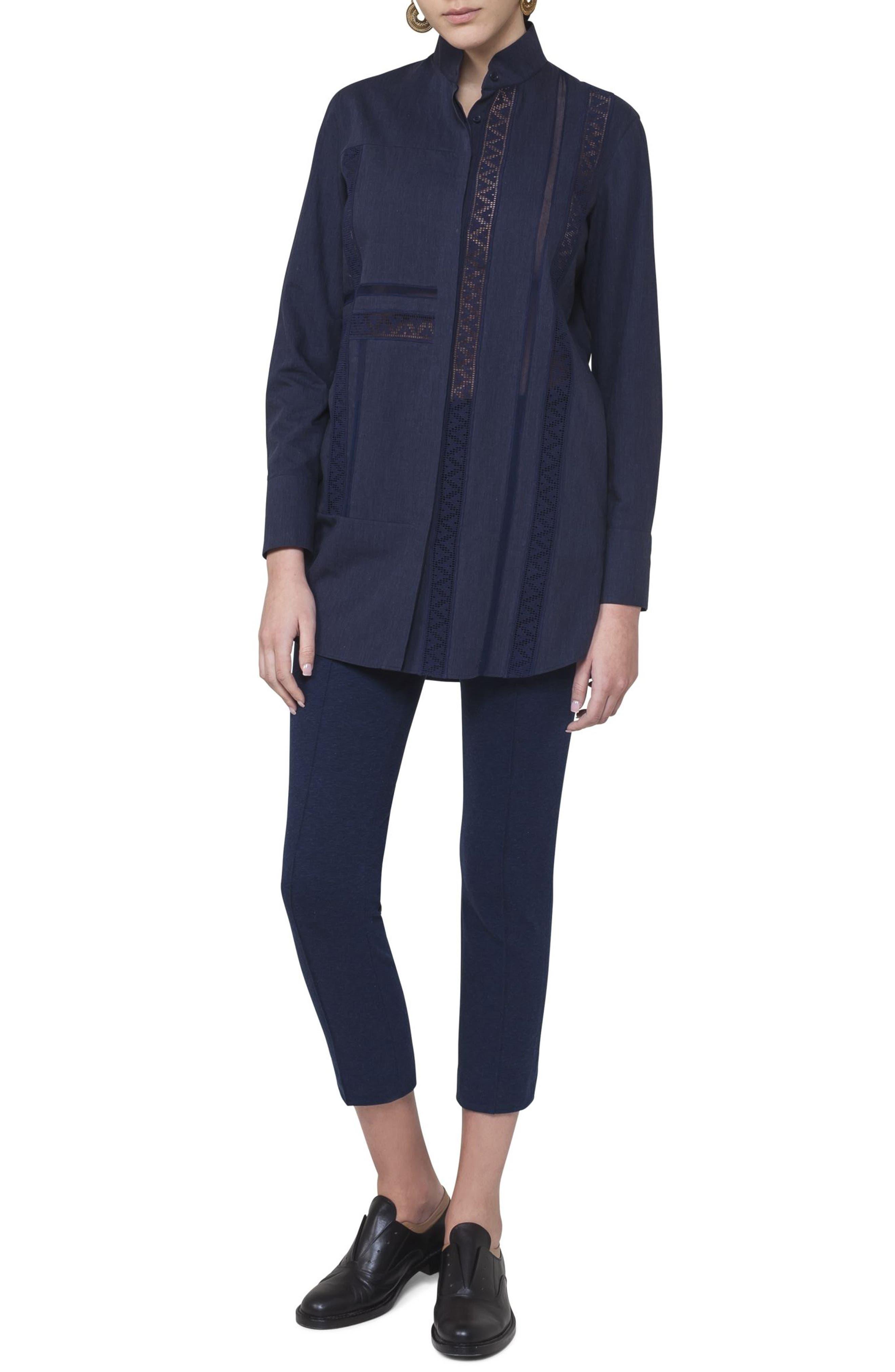 Lace Inset Cotton Blouse,                             Alternate thumbnail 3, color,                             Blue Denim