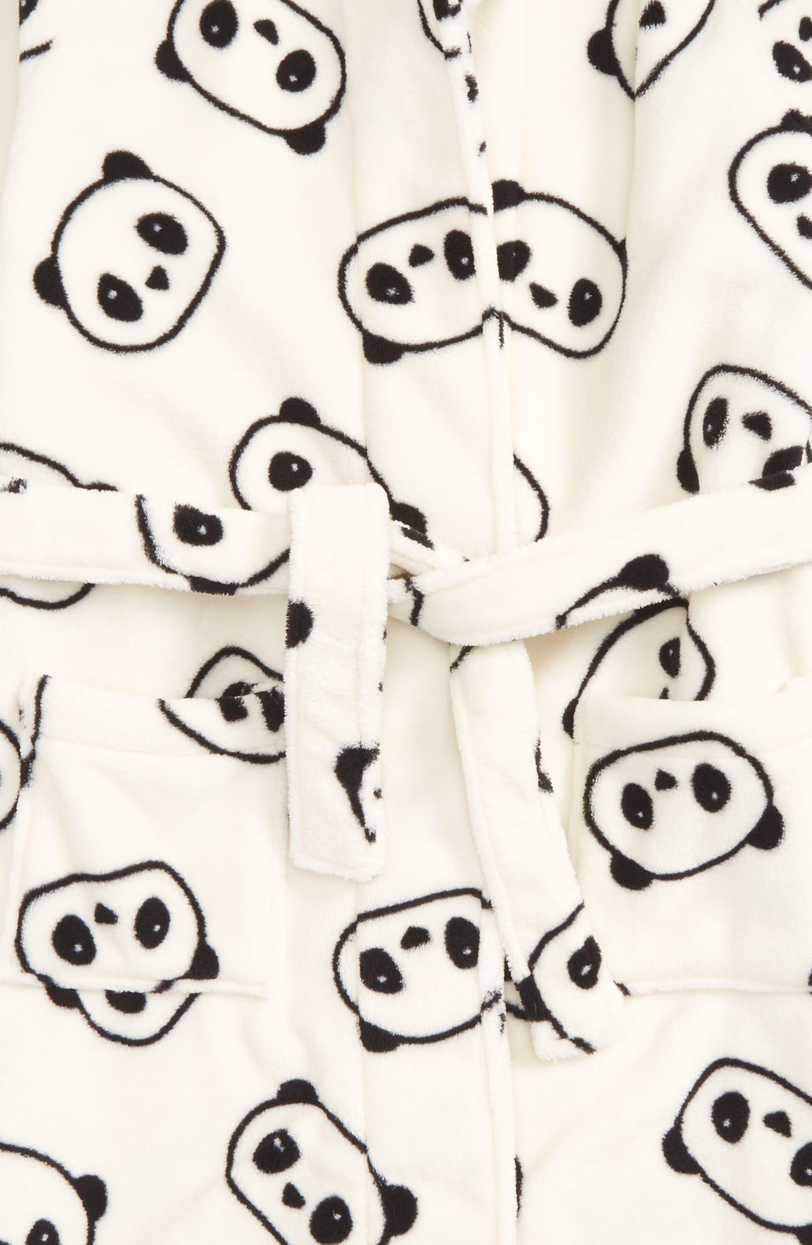 Hooded Fleece Robe,                             Alternate thumbnail 2, color,                             Ivory Egret Pandas