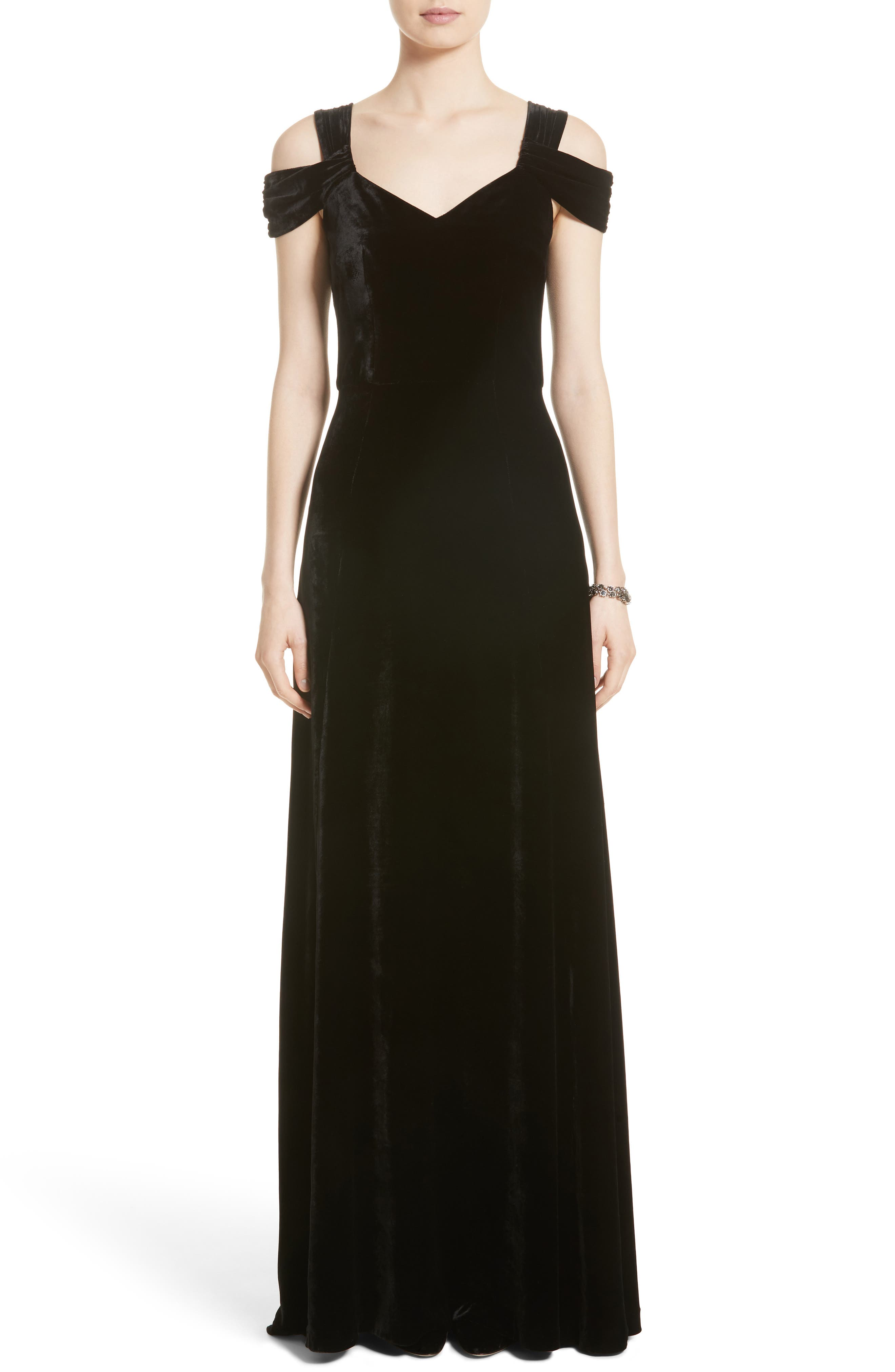 St. John Collection Cold Shoulder Velvet Gown,                         Main,                         color, Caviar