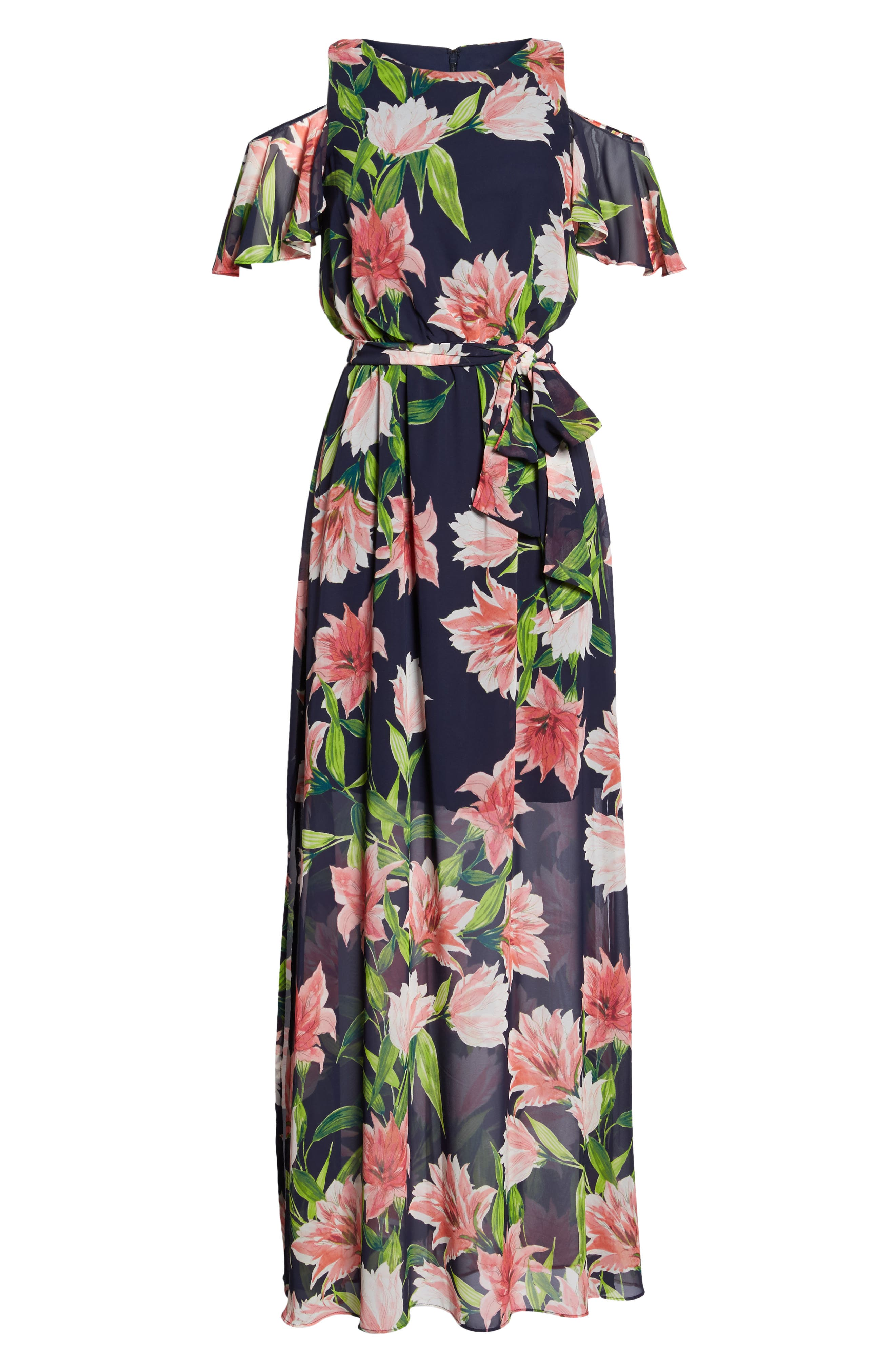 Floral Cold-Shoulder Maxi Dress,                             Alternate thumbnail 6, color,                             Navy