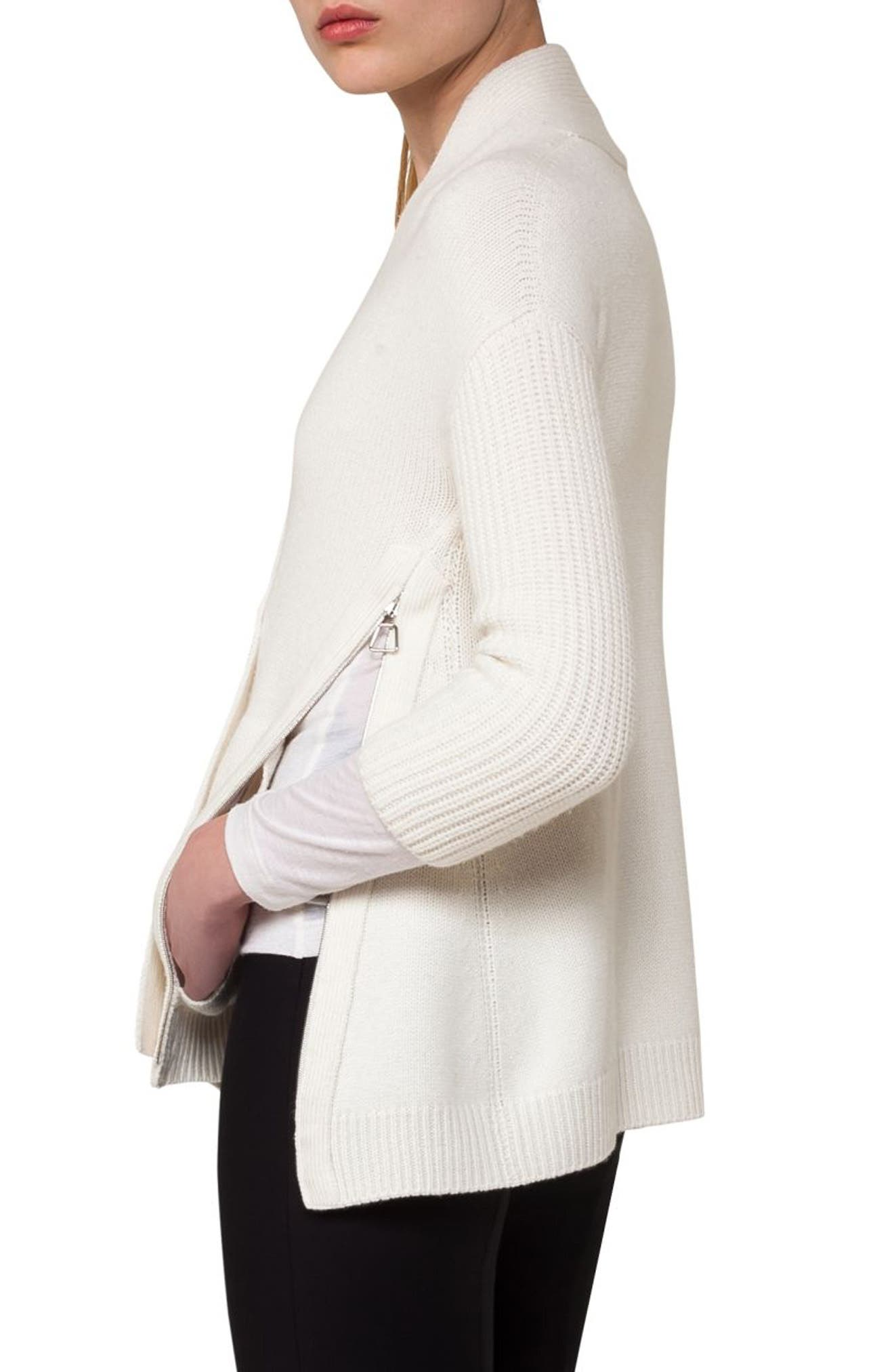 Alternate Image 4  - Akris Zip Detail Drape Cashmere Cardigan