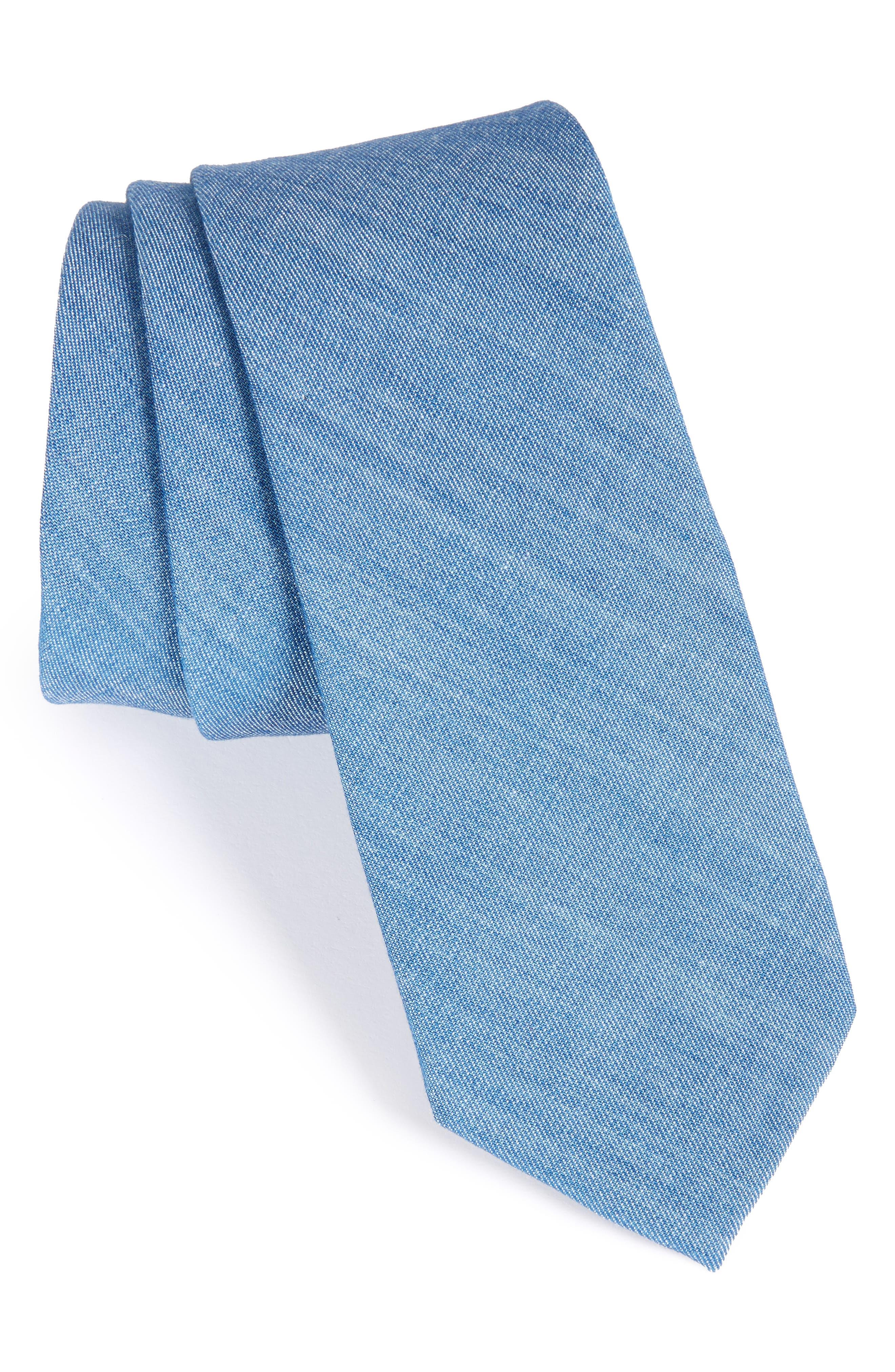 Solid Cotton Blend Skinny Tie,                         Main,                         color, Blue