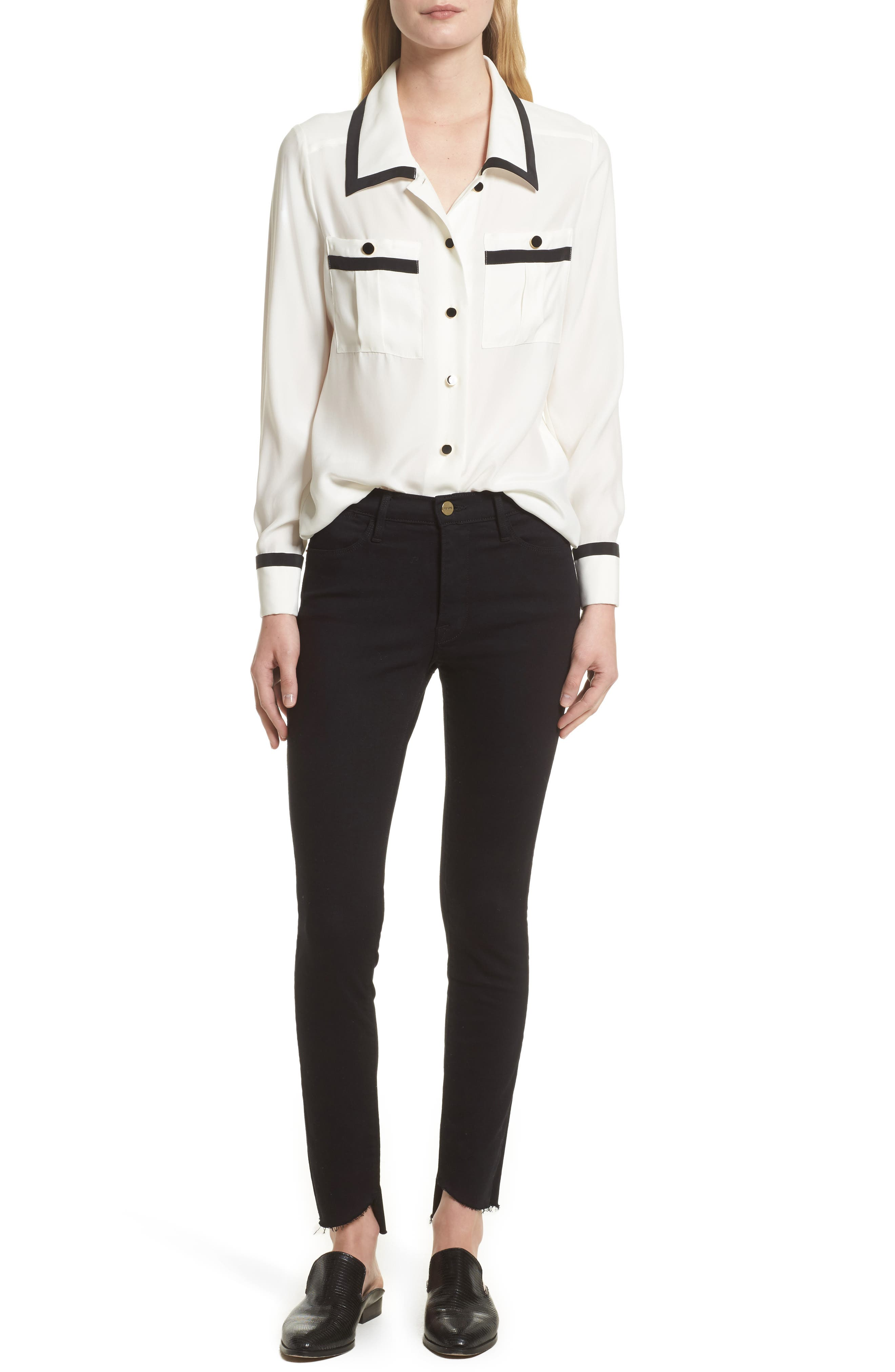 Alternate Image 9  - FRAME Le High Skinny Step Hem Jeans (Film Noir) (Nordstrom Exclusive)