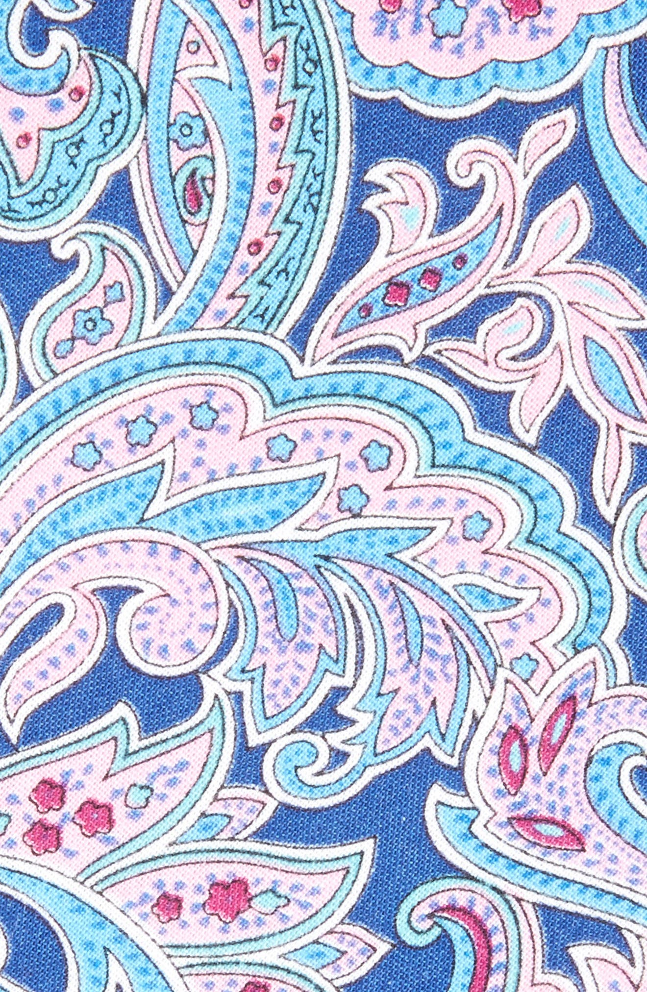Paisley Cotton Skinny Tie,                             Alternate thumbnail 2, color,                             Navy