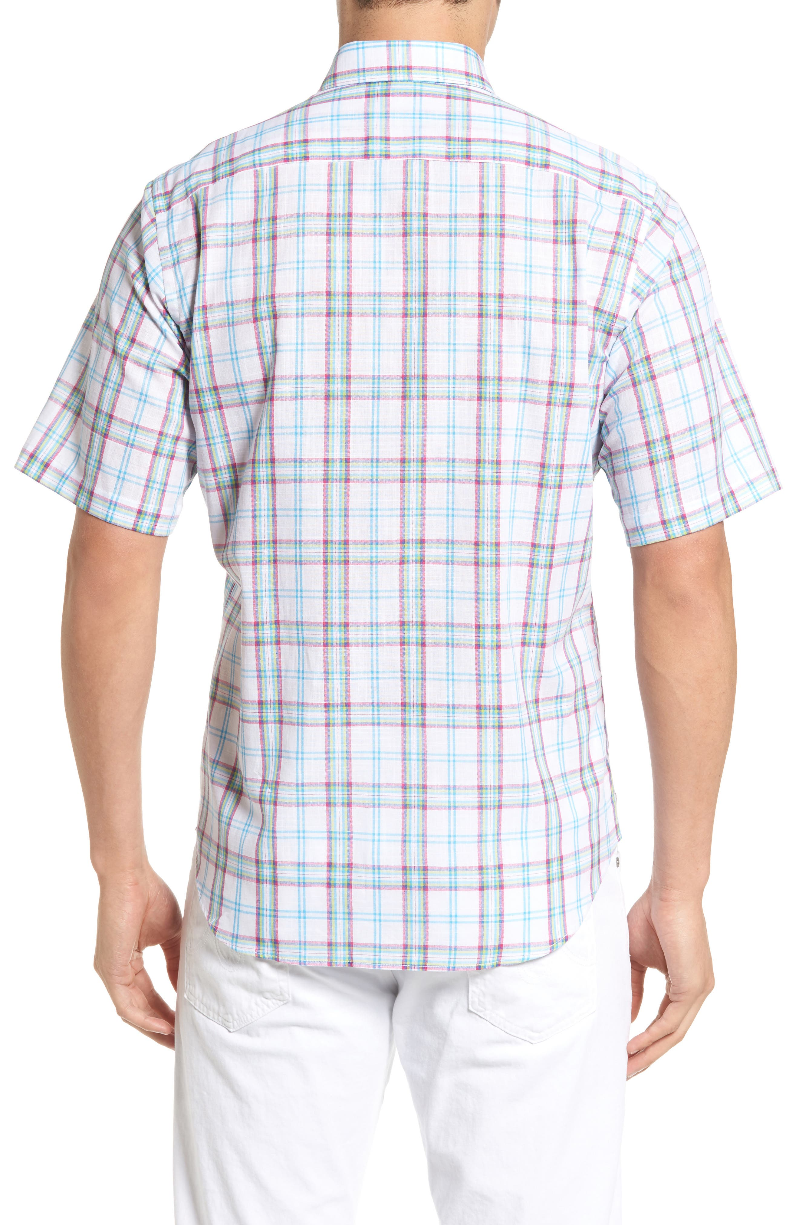 Alternate Image 2  - Tailorbyrd Monterey Regular Fit Short Sleeve Plaid Sport Shirt