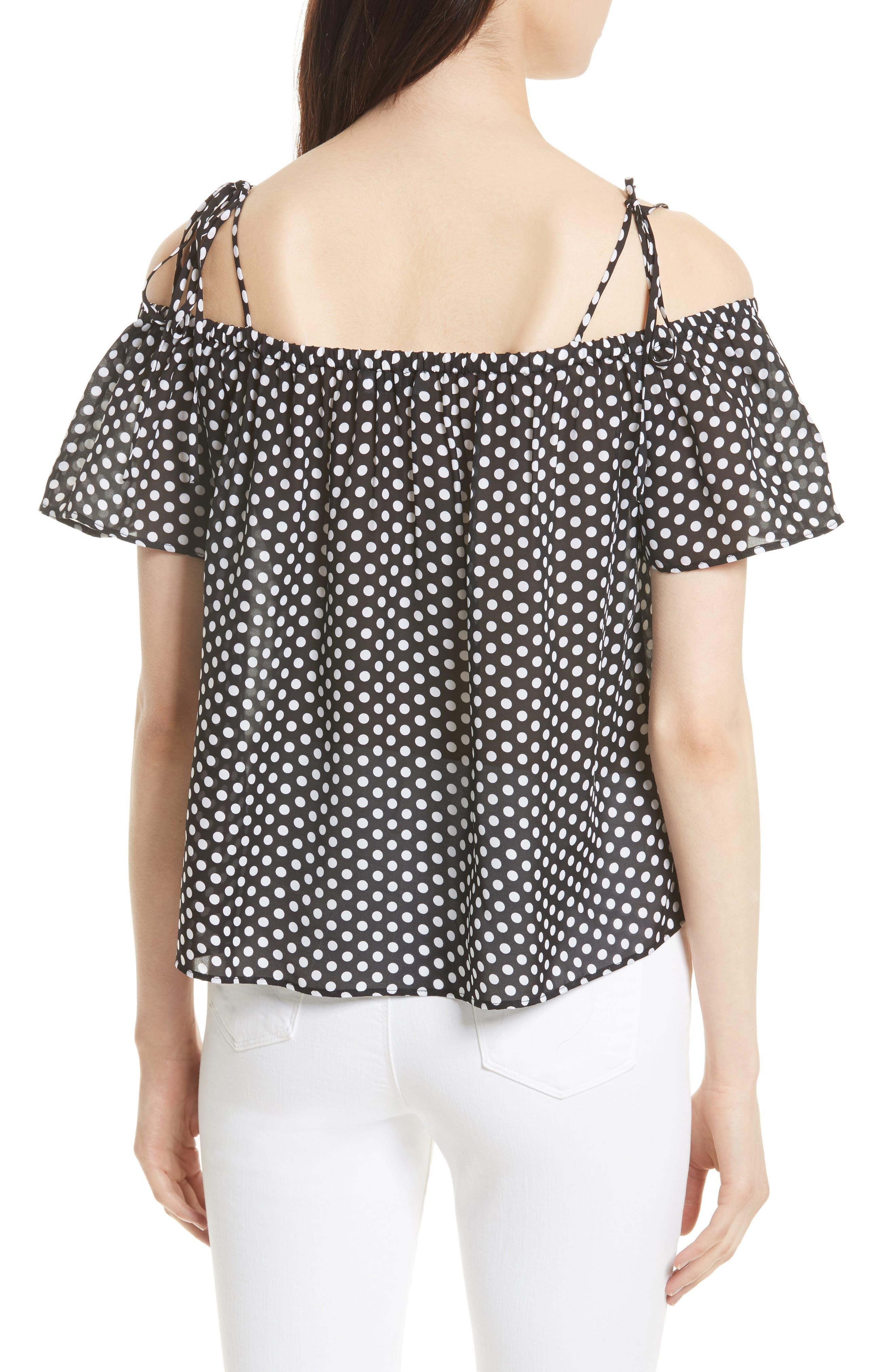 Eden Dot Print Silk Tie Shoulder Top,                             Alternate thumbnail 2, color,                             Black