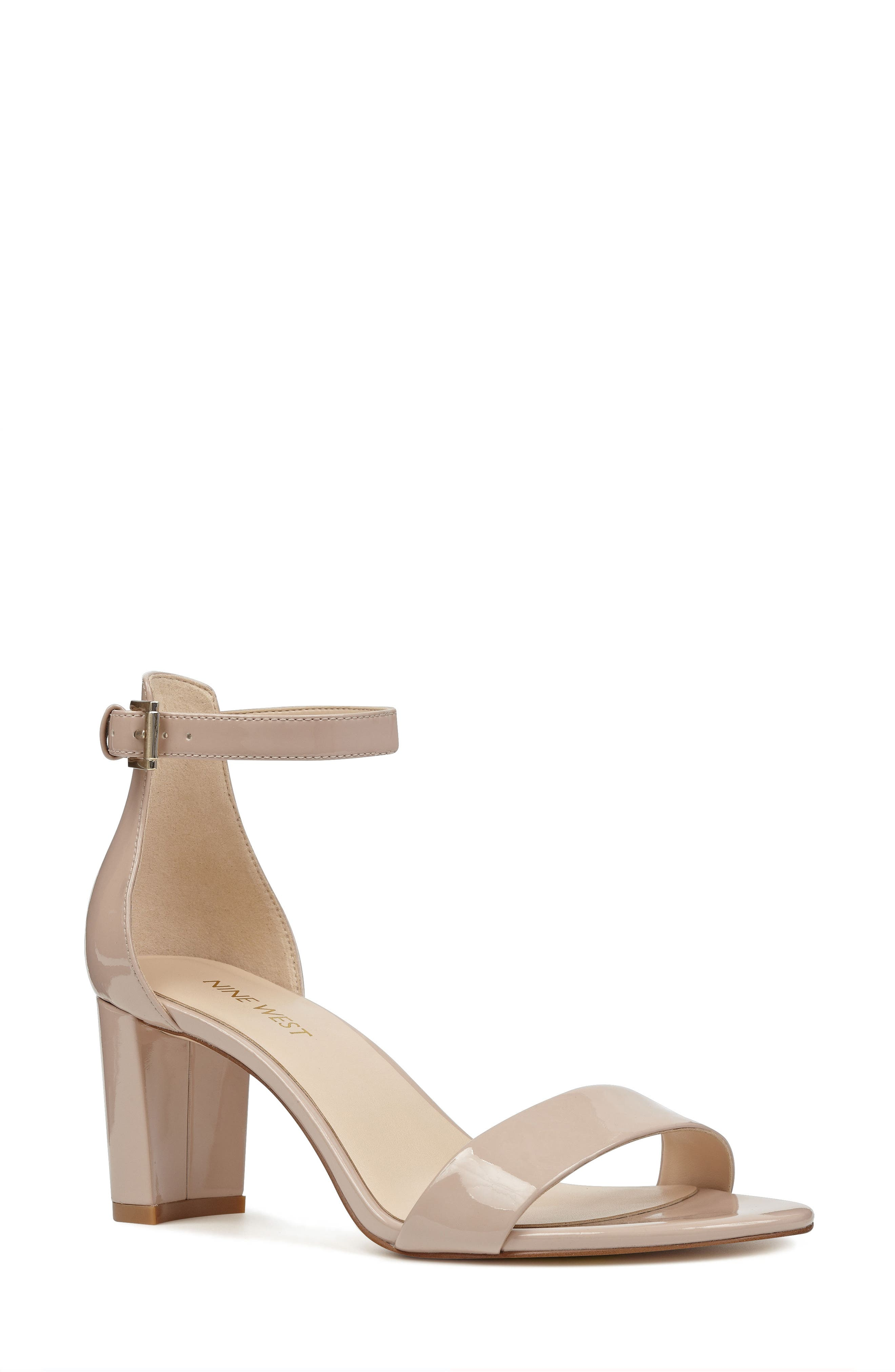 Pruce Ankle Strap Sandal,                         Main,                         color, Natural Patent