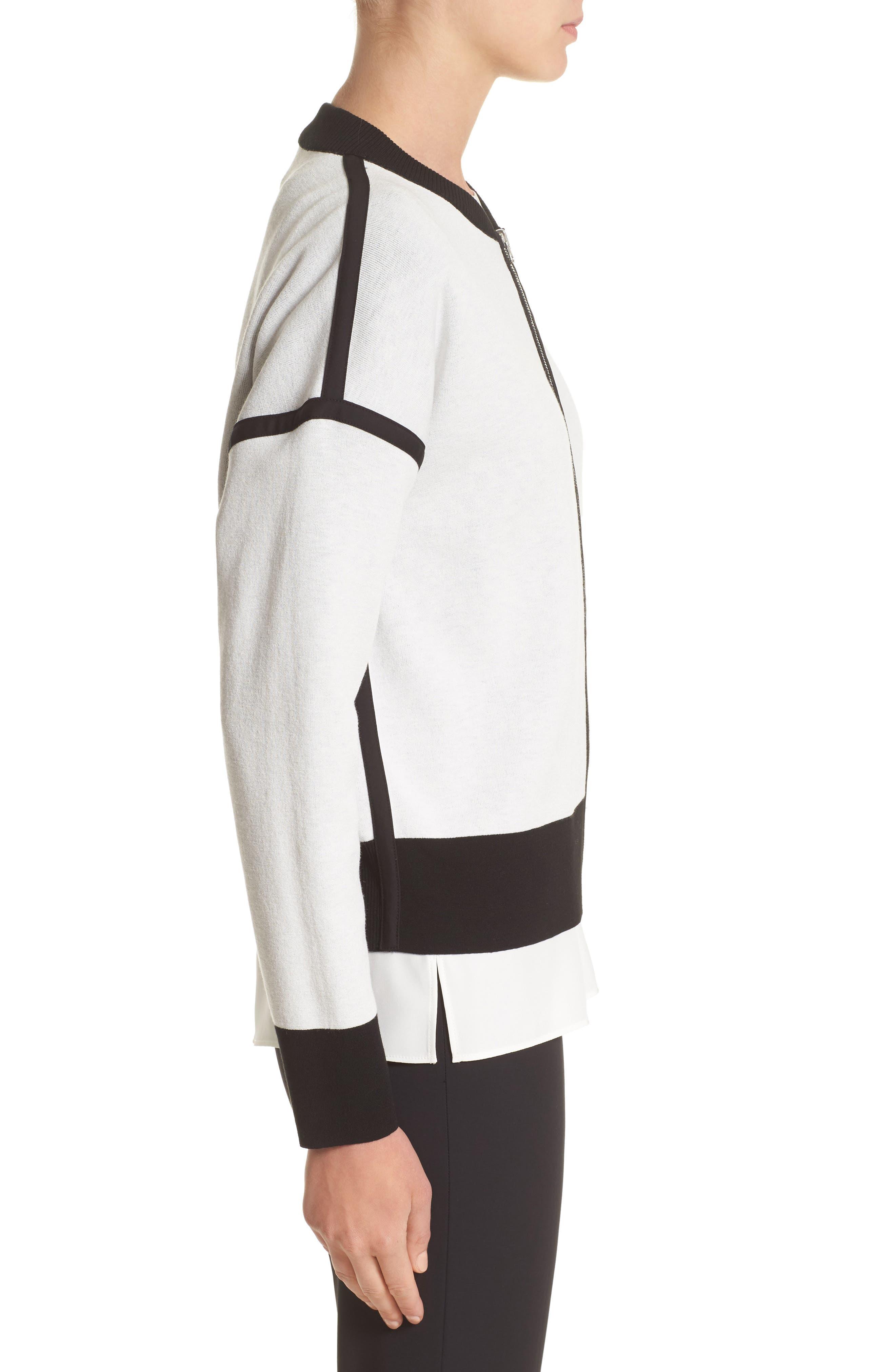 Matte Crepe Reversible Knit Bomber Jacket,                             Alternate thumbnail 7, color,                             Cloud / Black