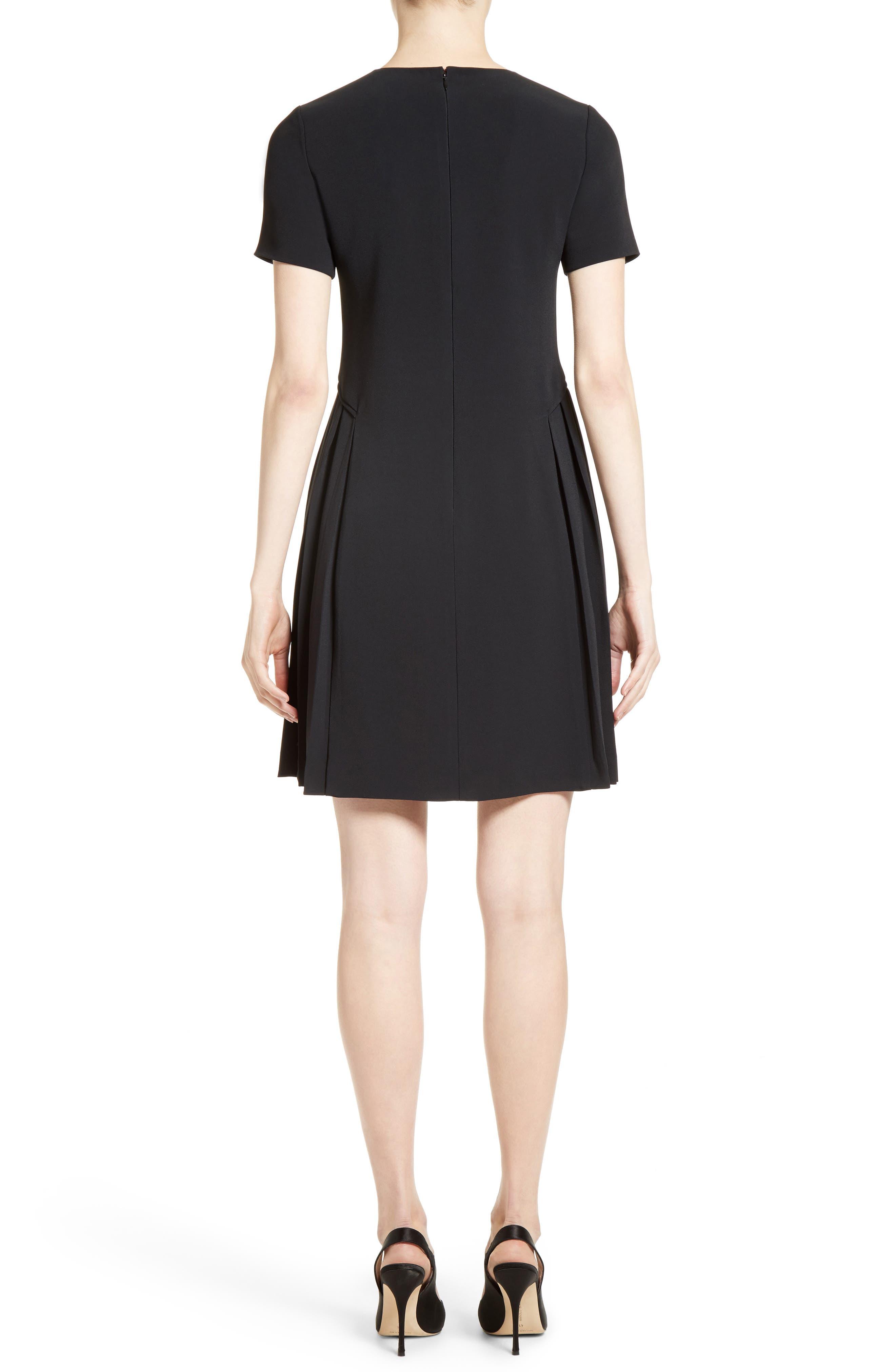 Pleated Fit & Flare Minidress,                             Alternate thumbnail 2, color,                             Black
