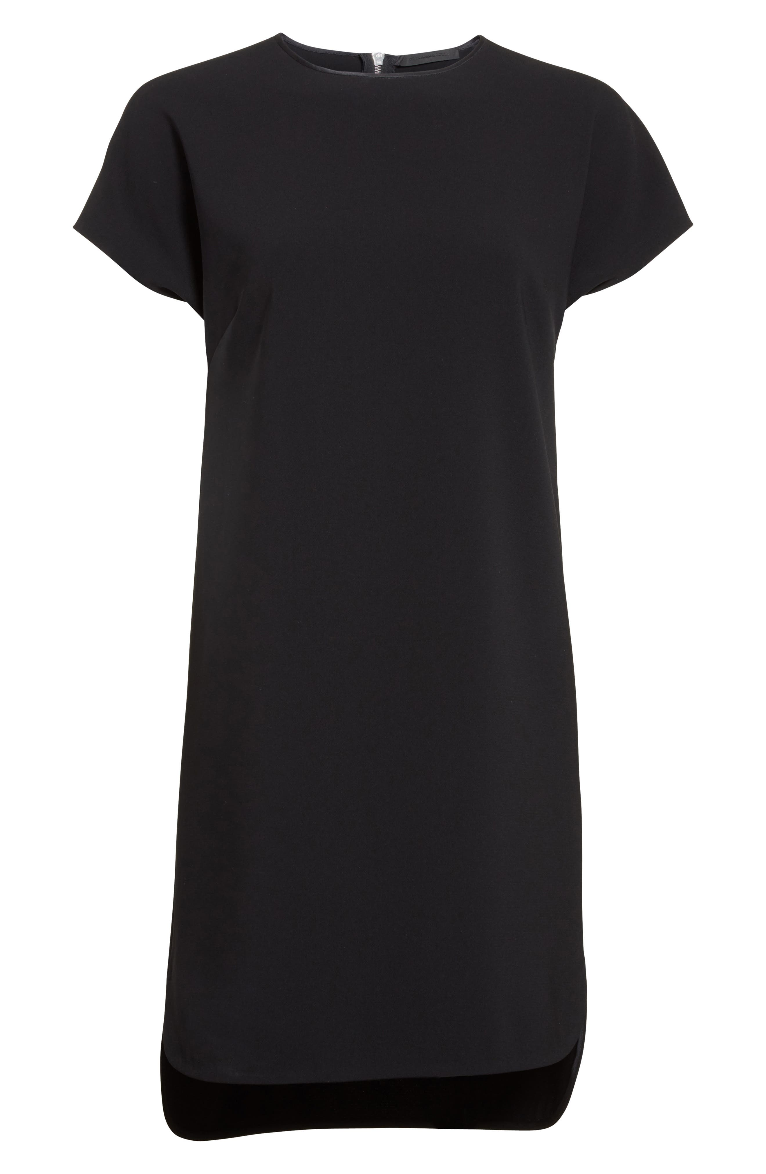 Crepe Shift Dress,                             Alternate thumbnail 4, color,                             Onyx