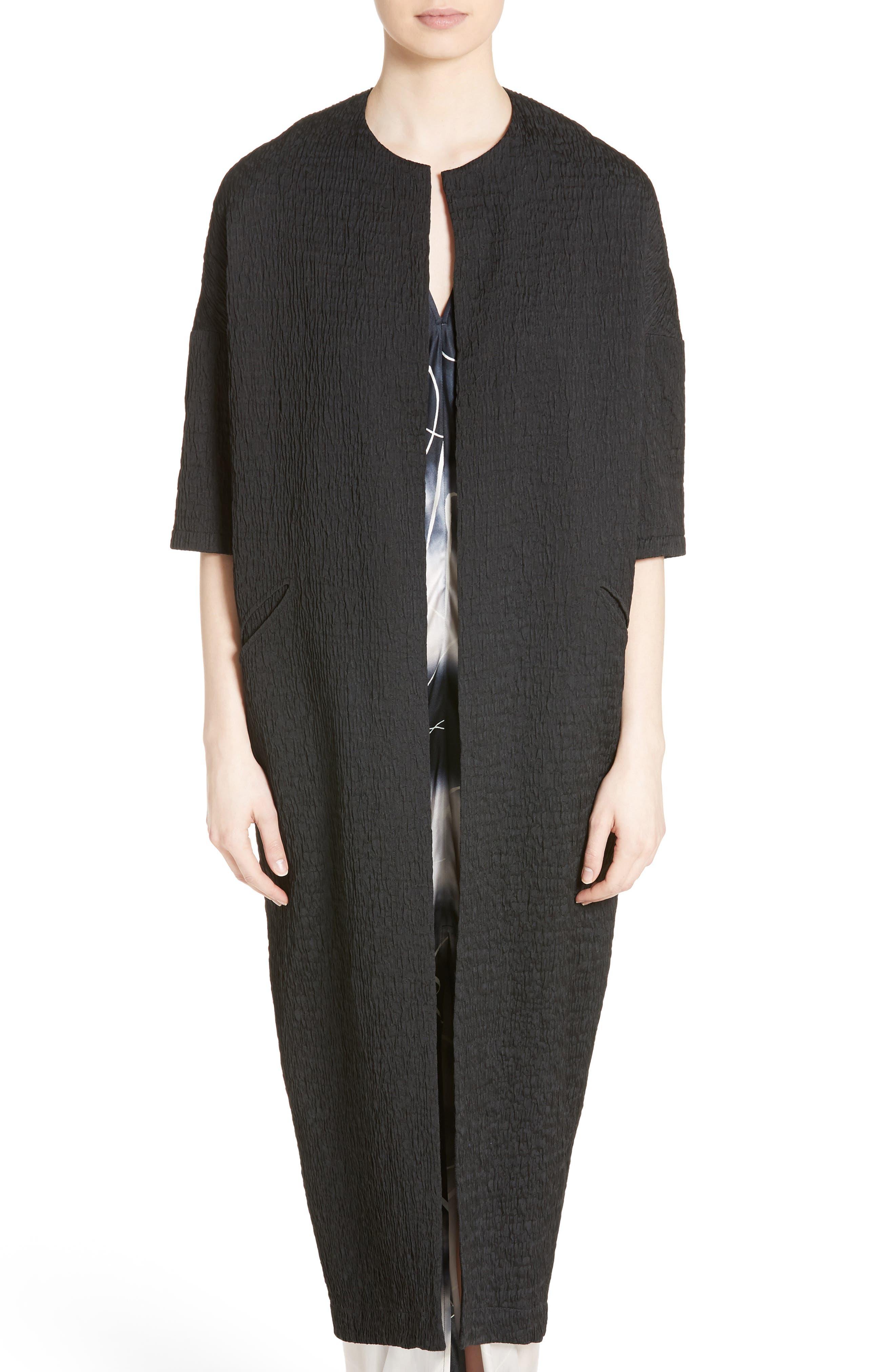 Koya Crinkle Stretch Coat,                         Main,                         color, Black