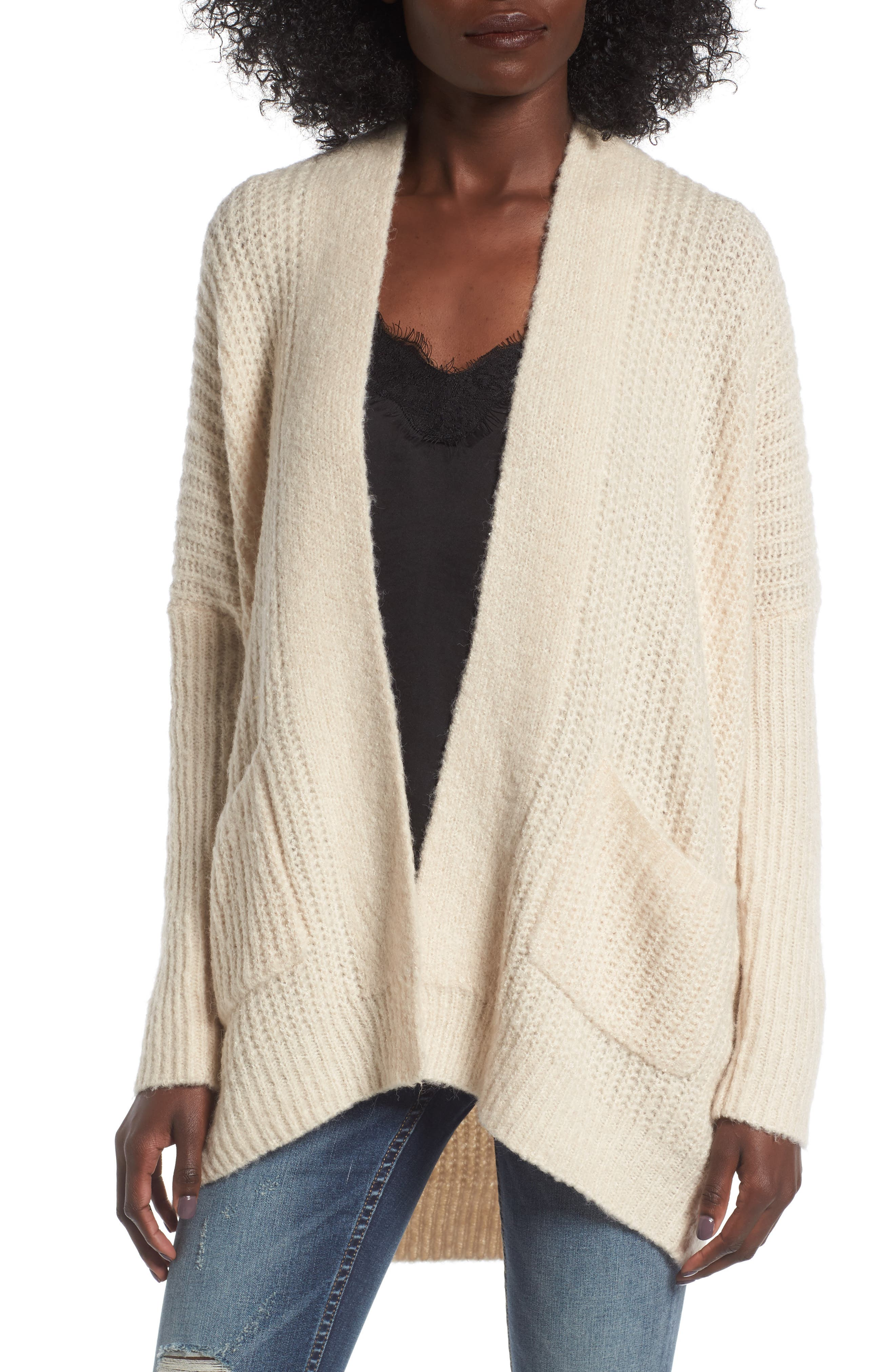 Alternate Image 1 Selected - Dreamers by Debut Rib Knit Open Cardigan