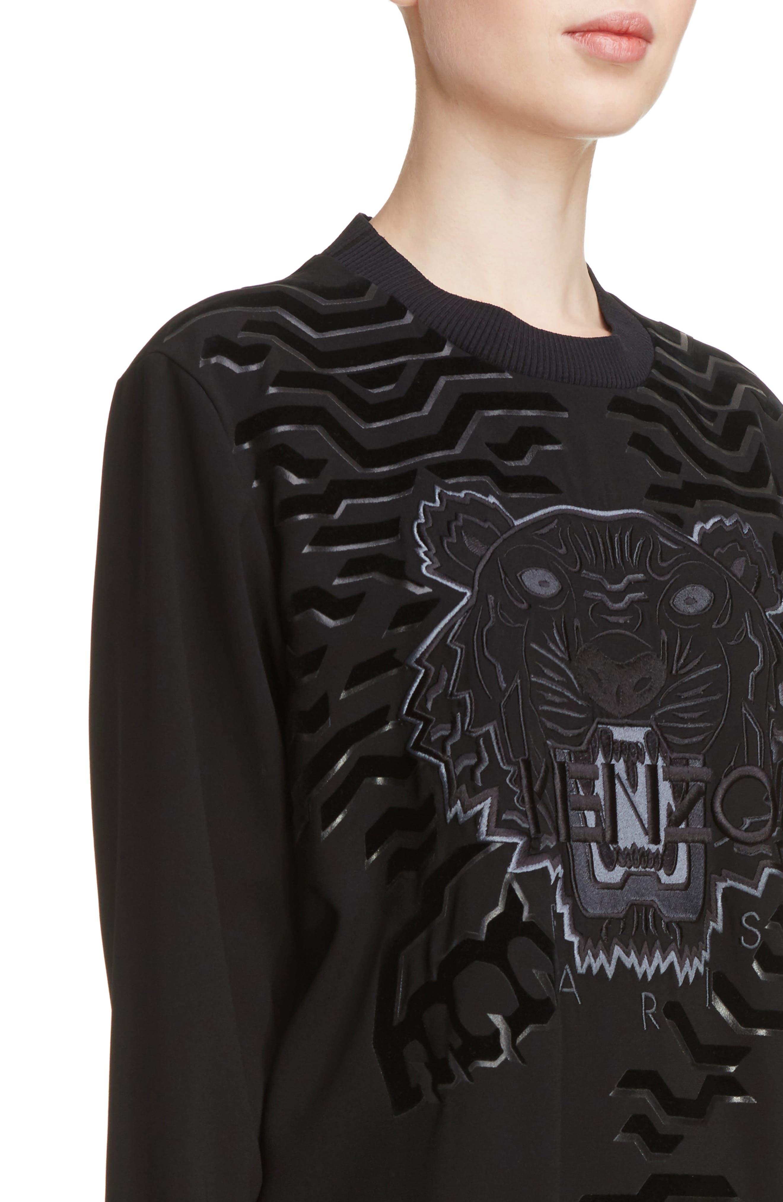 Tiger Sweater Dress,                             Alternate thumbnail 4, color,                             Black