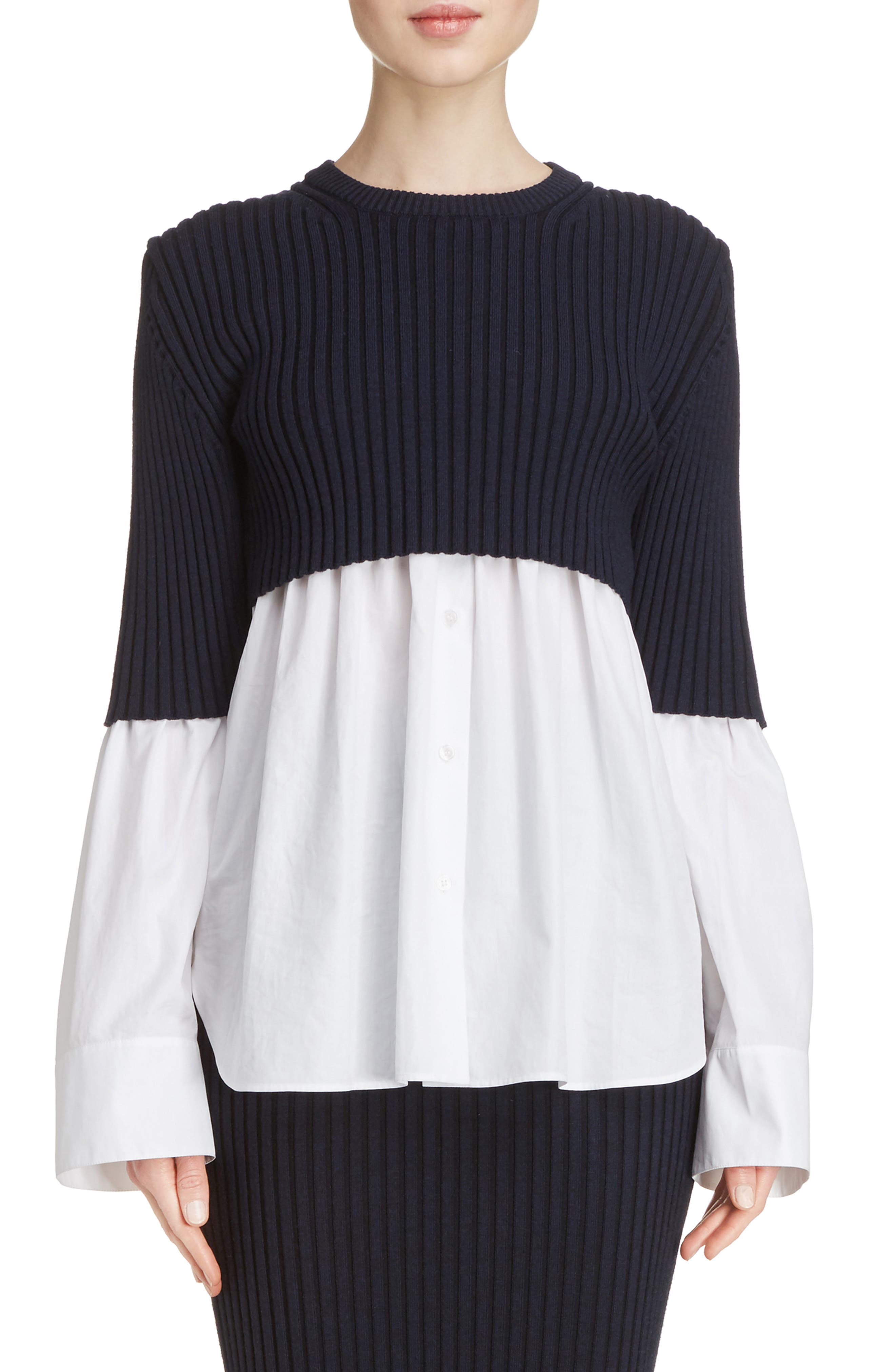 Alternate Image 1 Selected - KENZO Knit Overlay Cotton Blouse