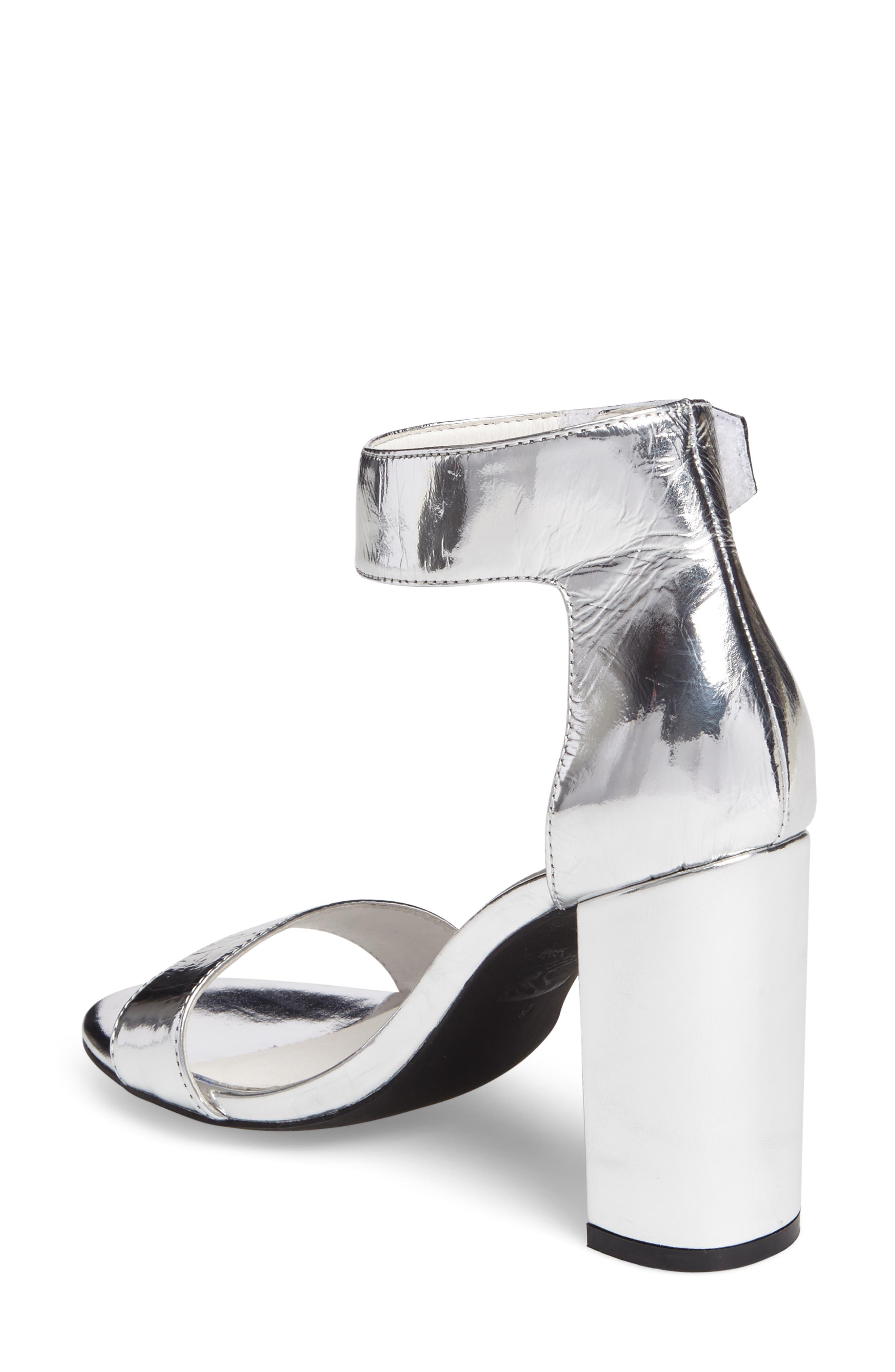 'Lindsay' Ankle Strap Sandal,                             Alternate thumbnail 2, color,                             Silver