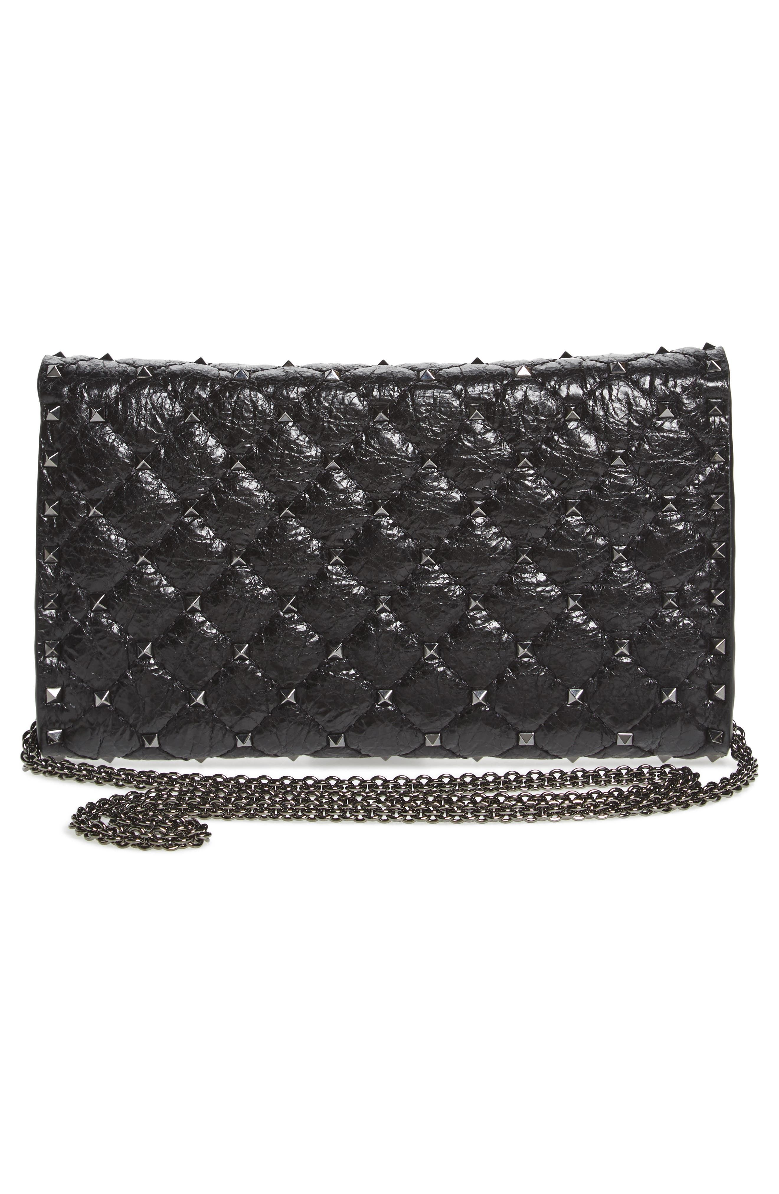 Rockstud Spike Wallet on a Chain,                             Alternate thumbnail 3, color,                             Black