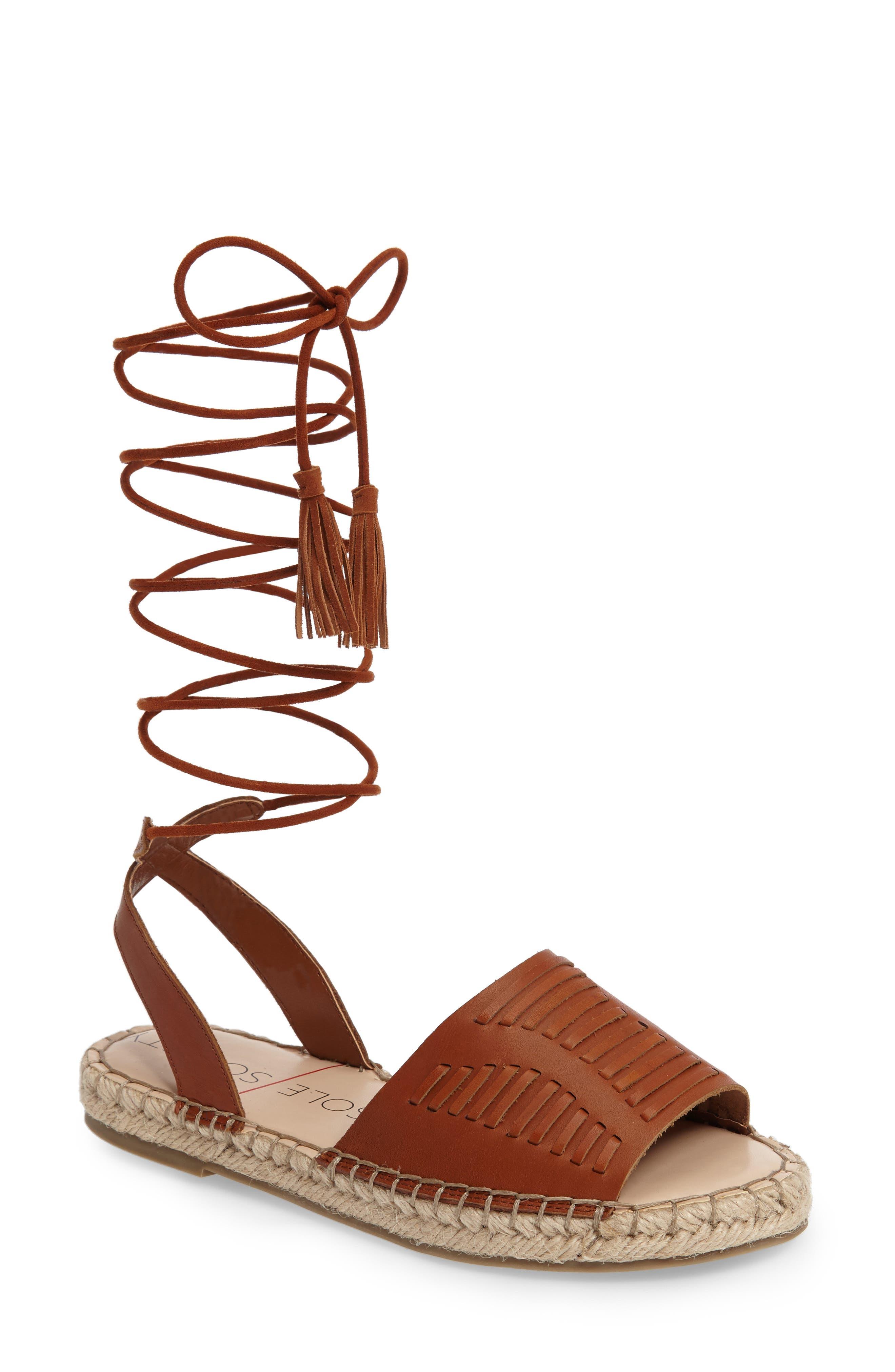 Clover Ankle Wrap Espadrille Sandal,                             Main thumbnail 1, color,                             Cognac Leather