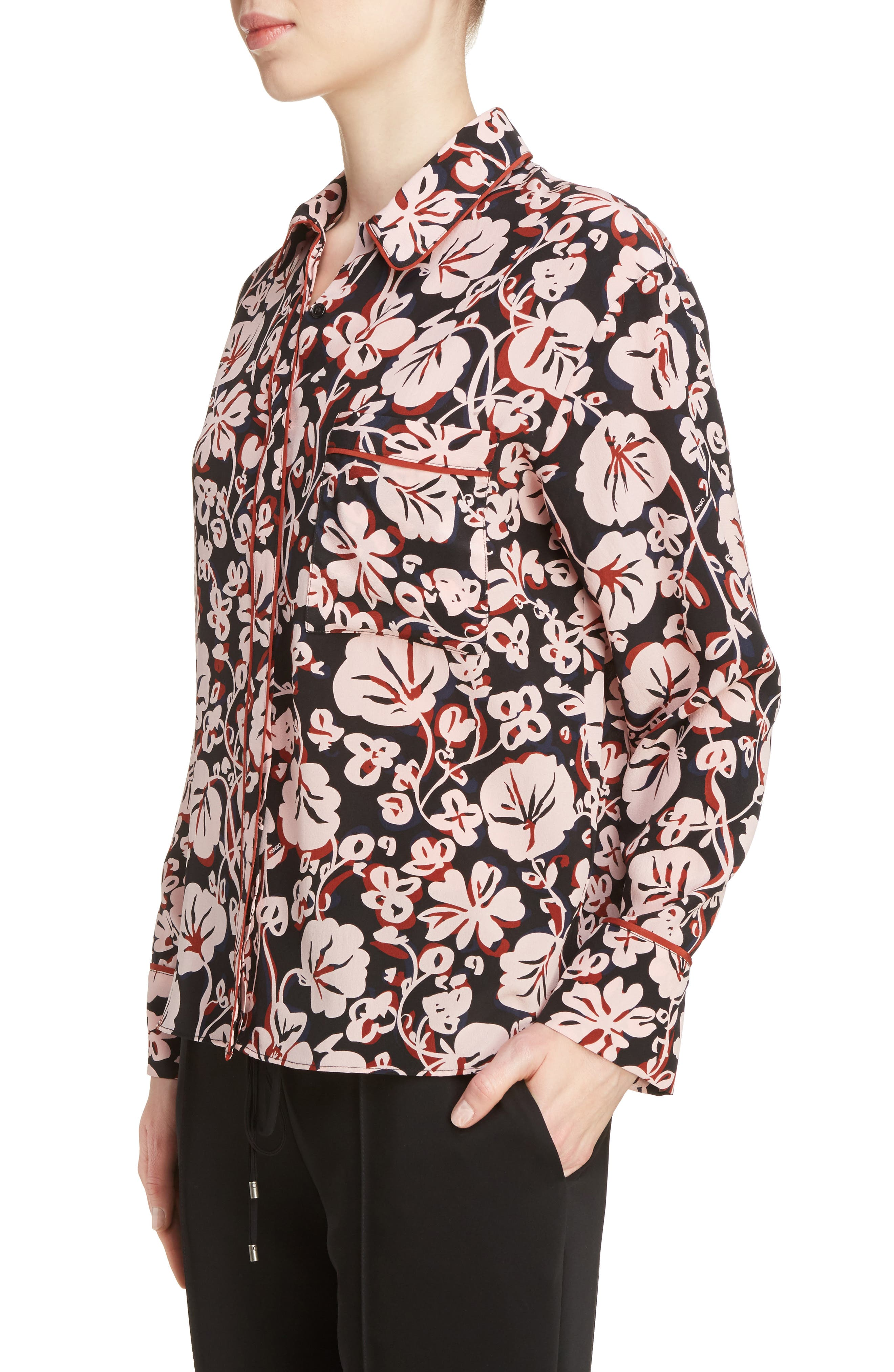 Alternate Image 5  - KENZO Floral Print Silk Shirt