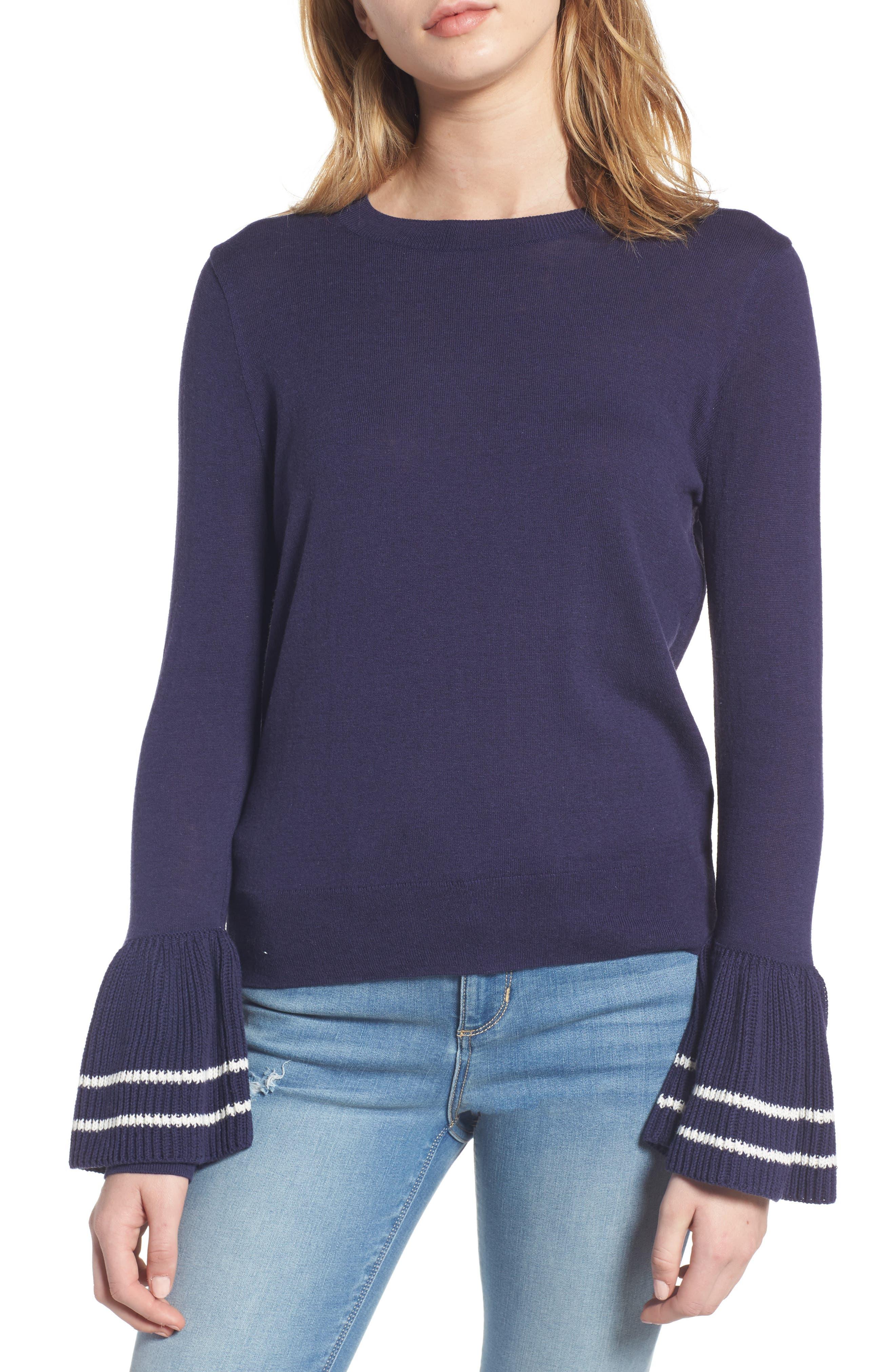 Ruffle Bell Cuff Sweater,                         Main,                         color, Navy Dusk