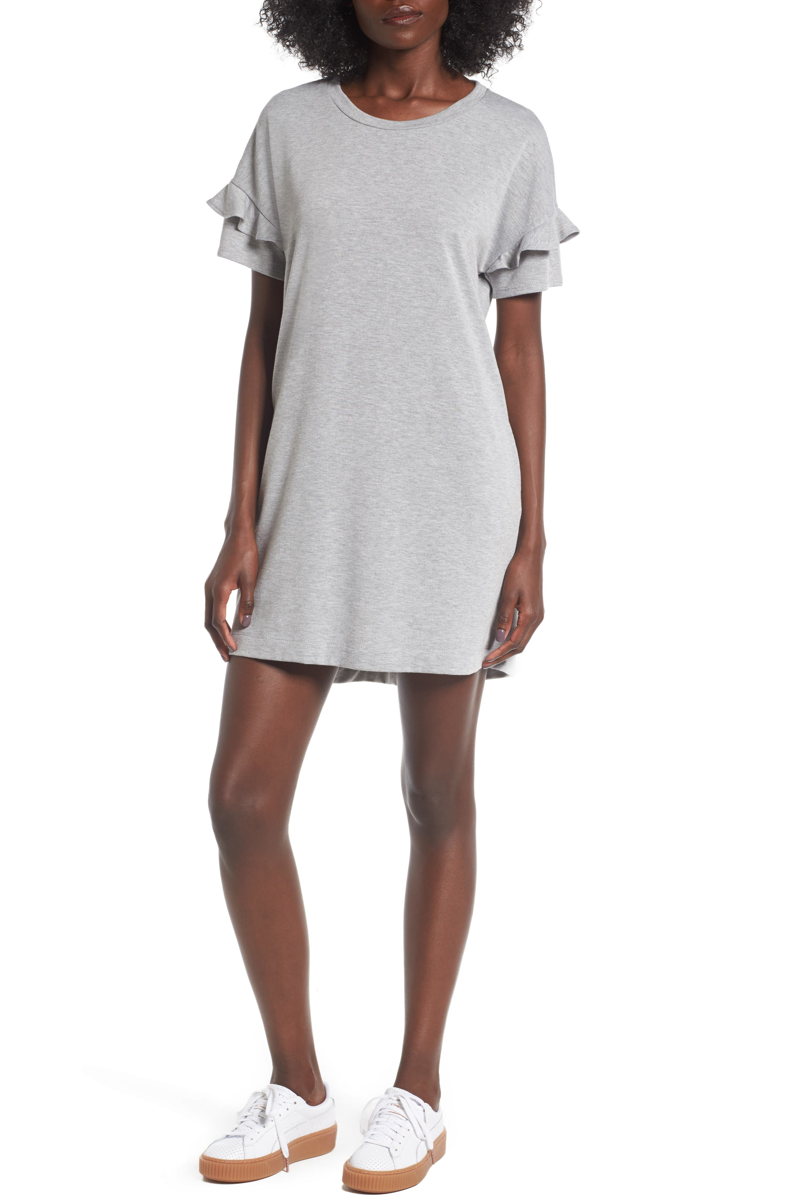 Ruffle Sleeve T-Shirt Dress,                         Main,                         color, Heather Grey