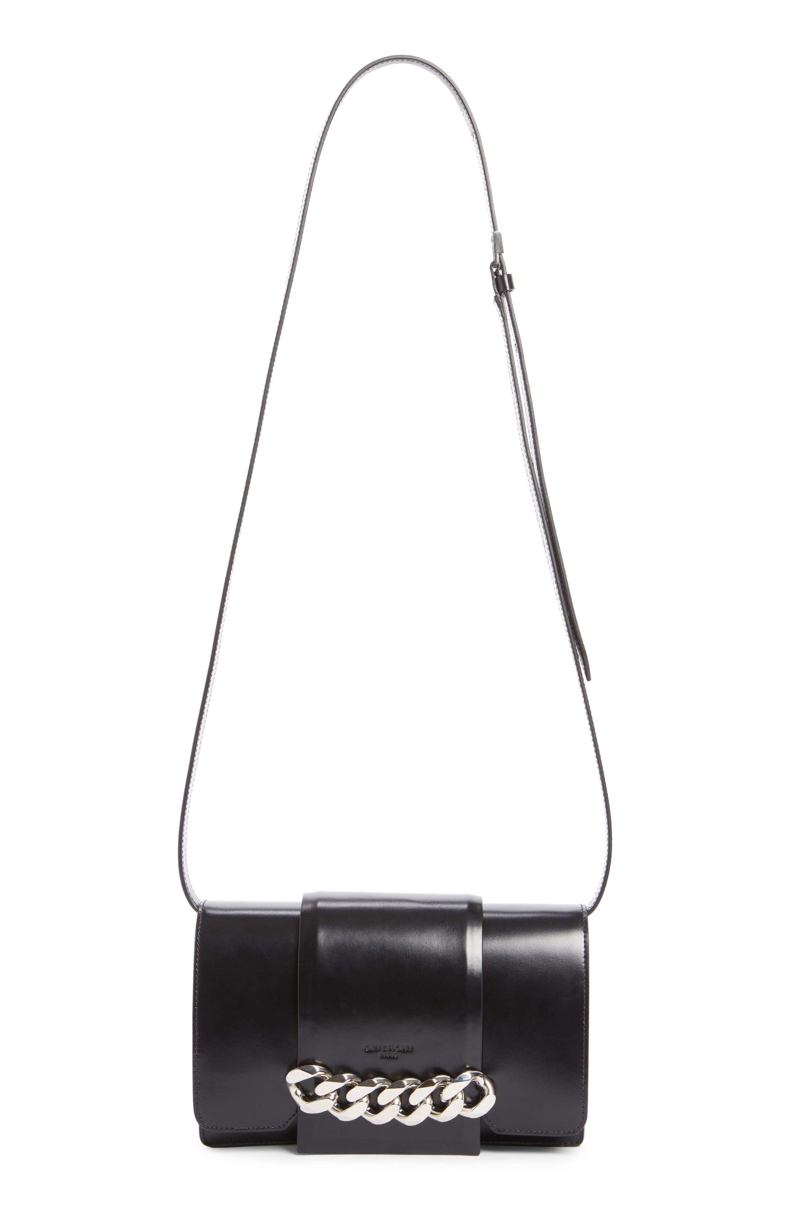 Small Infinity Calfskin Leather Shoulder Bag,                             Main thumbnail 1, color,                             Black