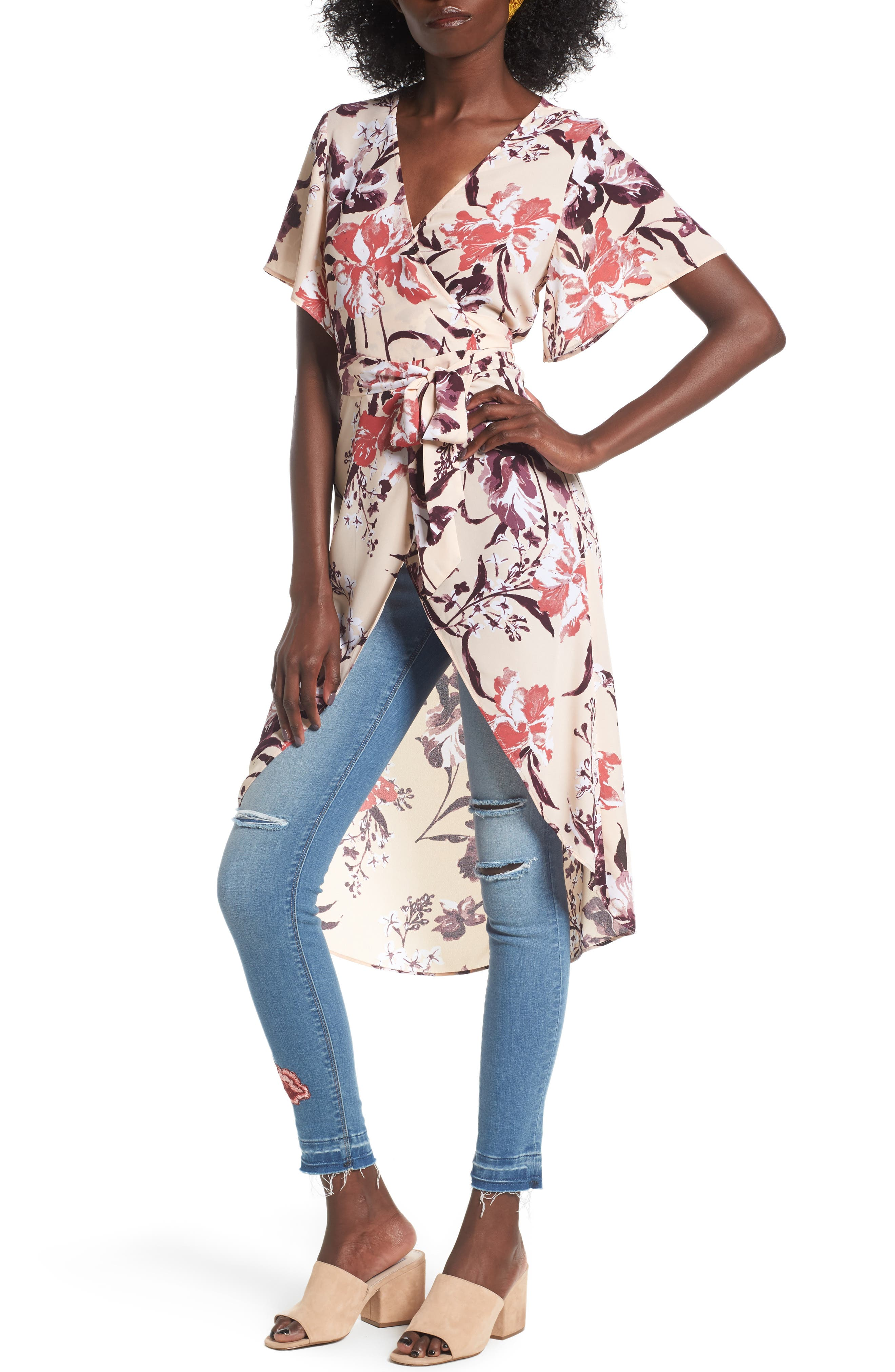 High/Low Wrap Tunic,                             Main thumbnail 1, color,                             Beige Dune Mixed Floral
