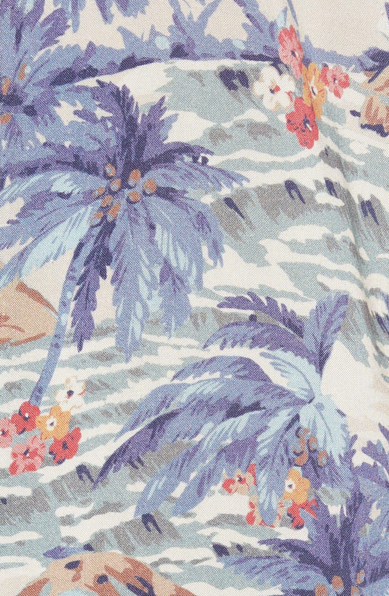 Hawaiian Print Rayon Shirt,                             Alternate thumbnail 5, color,                             Tahitian Dreams